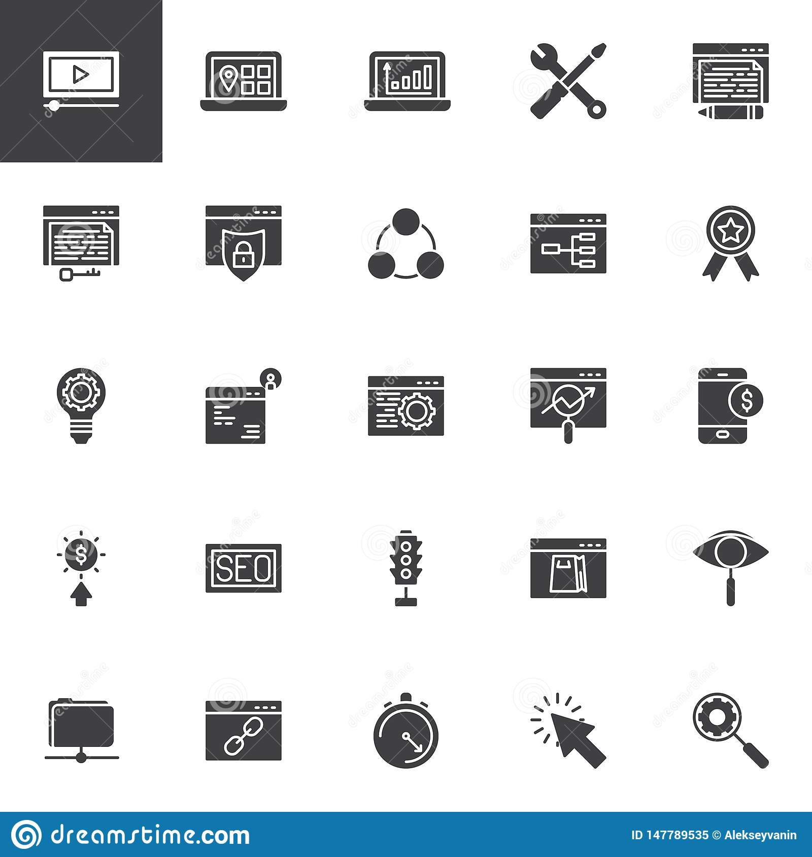Insieme delle icone di vettore di ottimizzazione del motore di ricerca