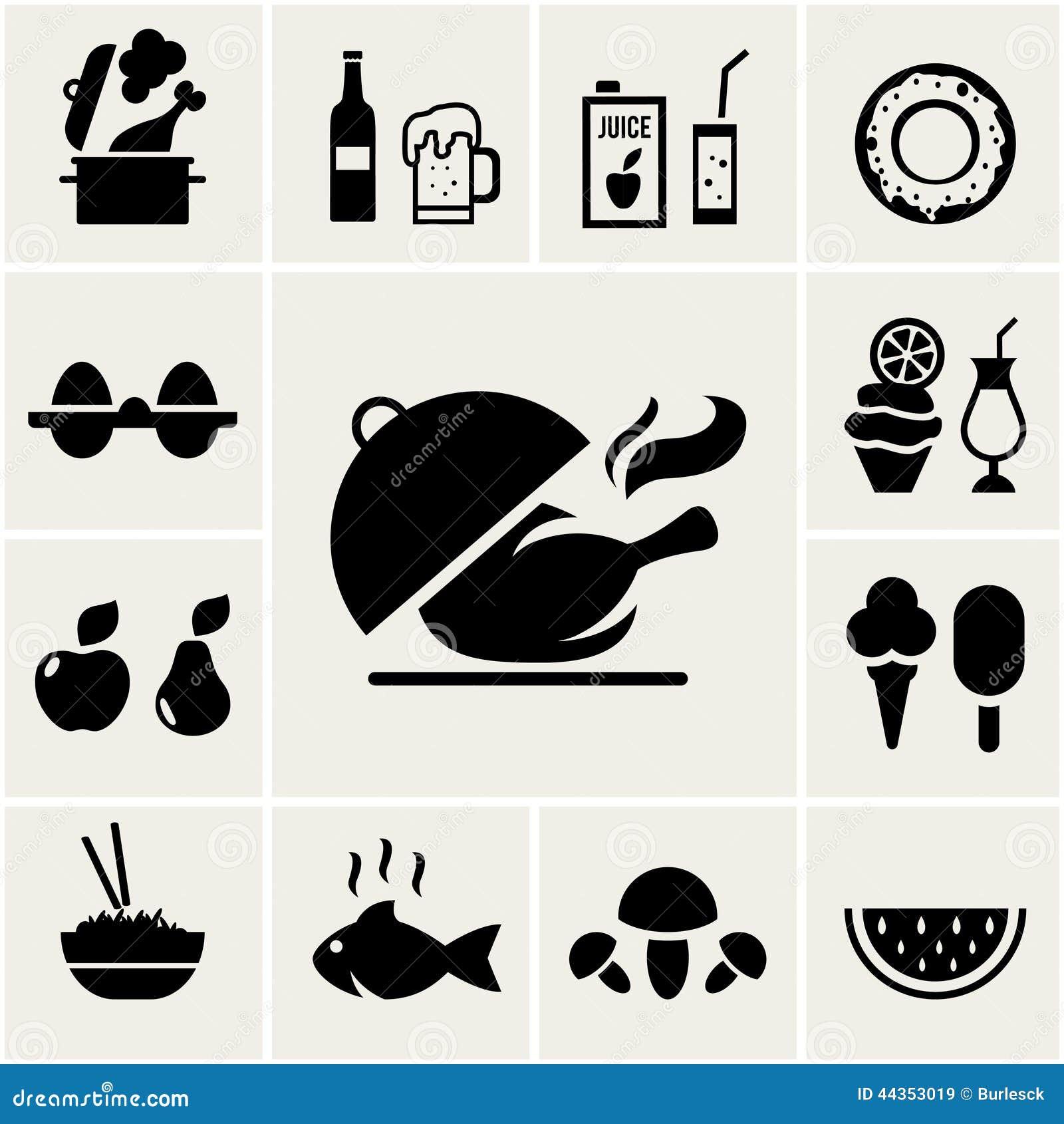 Insieme delle icone nere dell alimento della siluetta