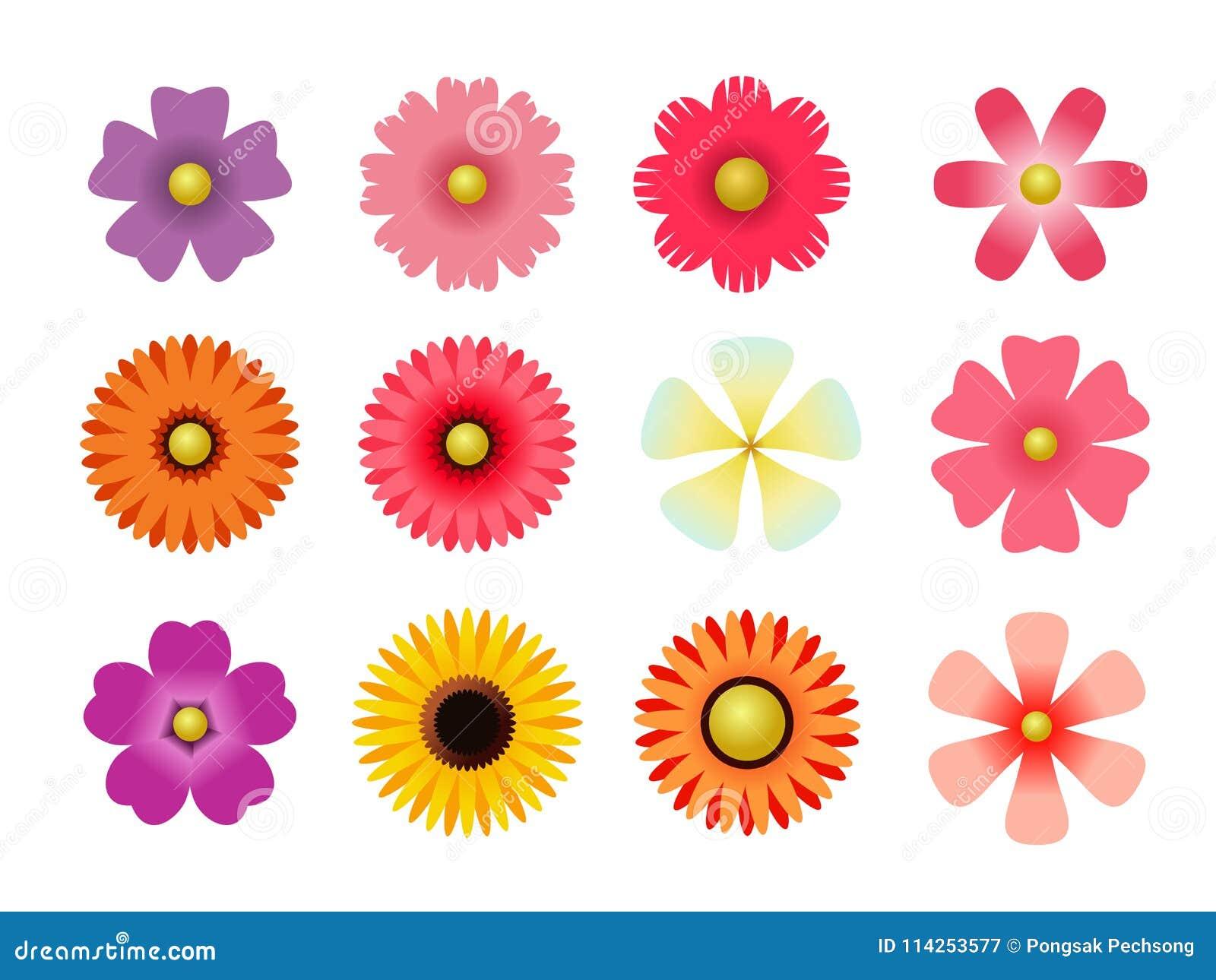 Insieme delle icone piane del fiore dell icona in siluetta isolata su bianco per gli autoadesivi, etichette, etichette, carta da