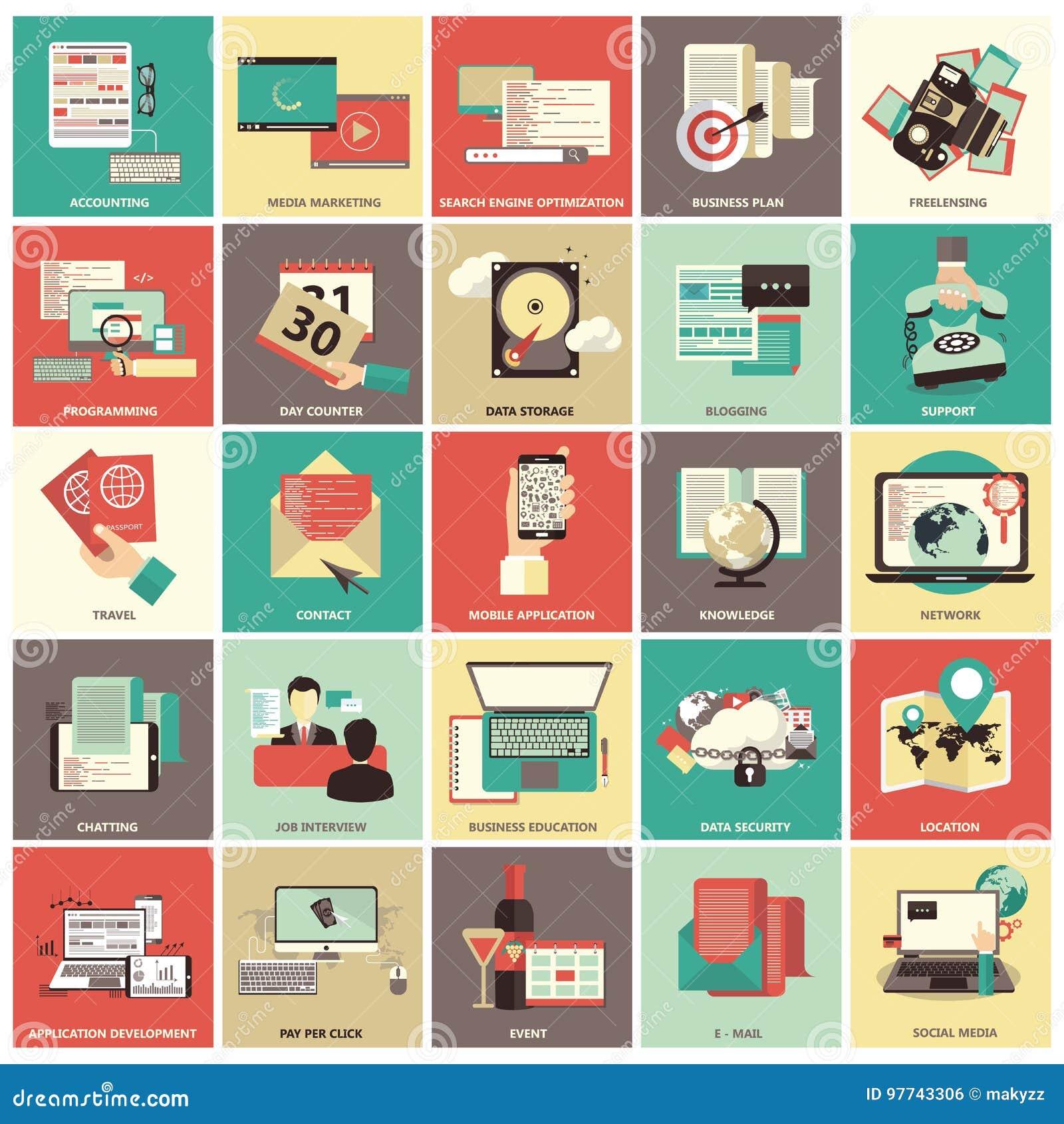 Insieme delle icone piane di progettazione per l affare, paga per clic, finanza, cercante, protezione dei dati, tecnologia, sulla