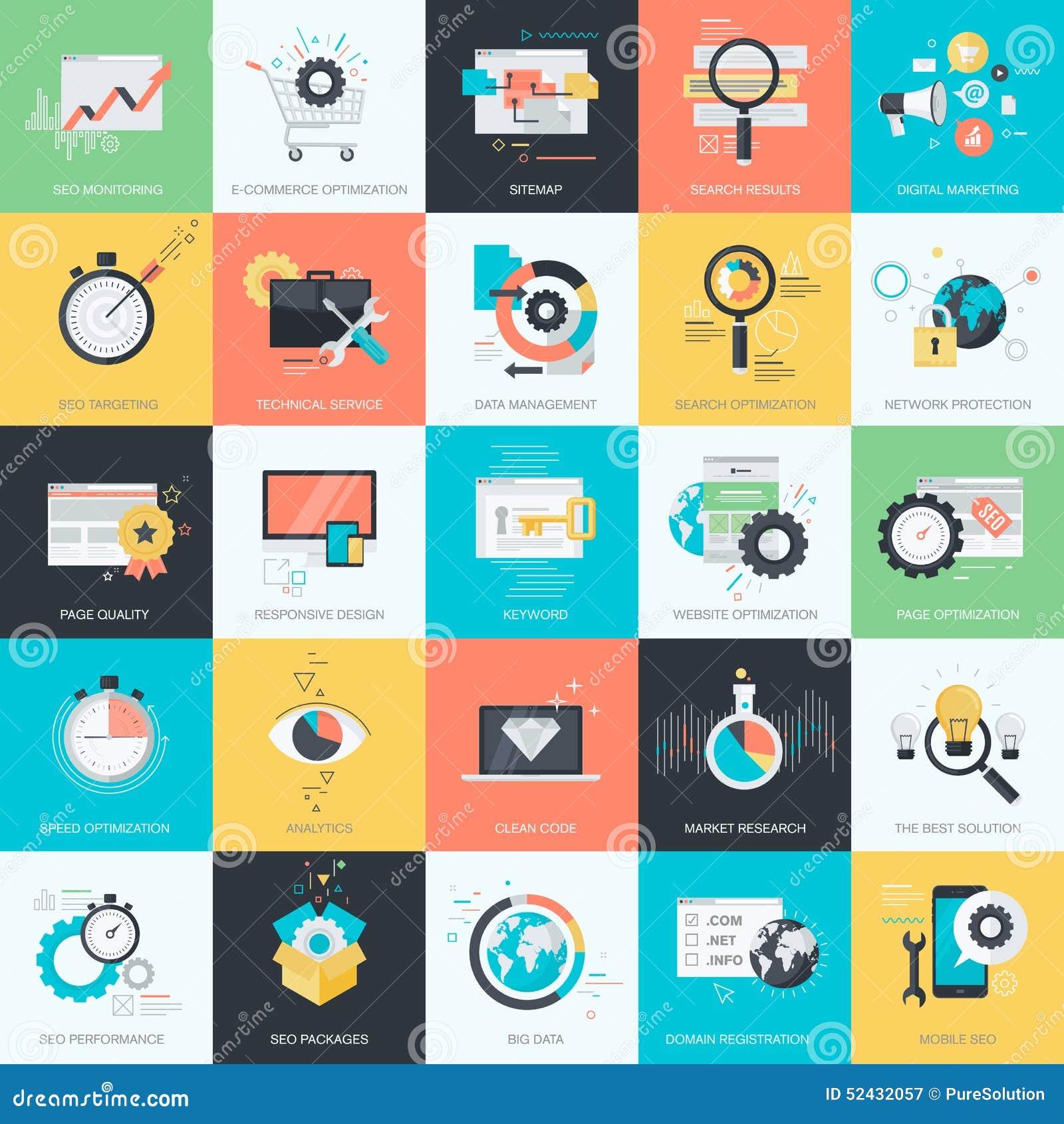 Insieme delle icone piane per SEO, sviluppo di stile di progettazione di web