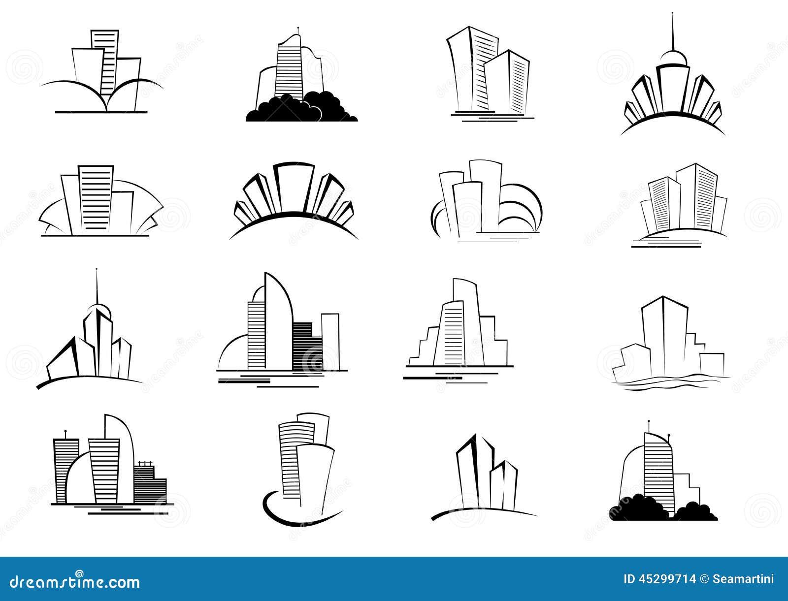 Hotel Interior Designer Insieme Delle Icone Stilizzate Della Costruzione Del