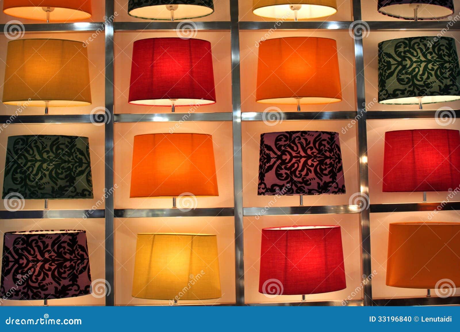 Lampade Da Tavolo Moderne Colorate.Insieme Delle Lampade Da Tavolo Moderne Fotografia Stock