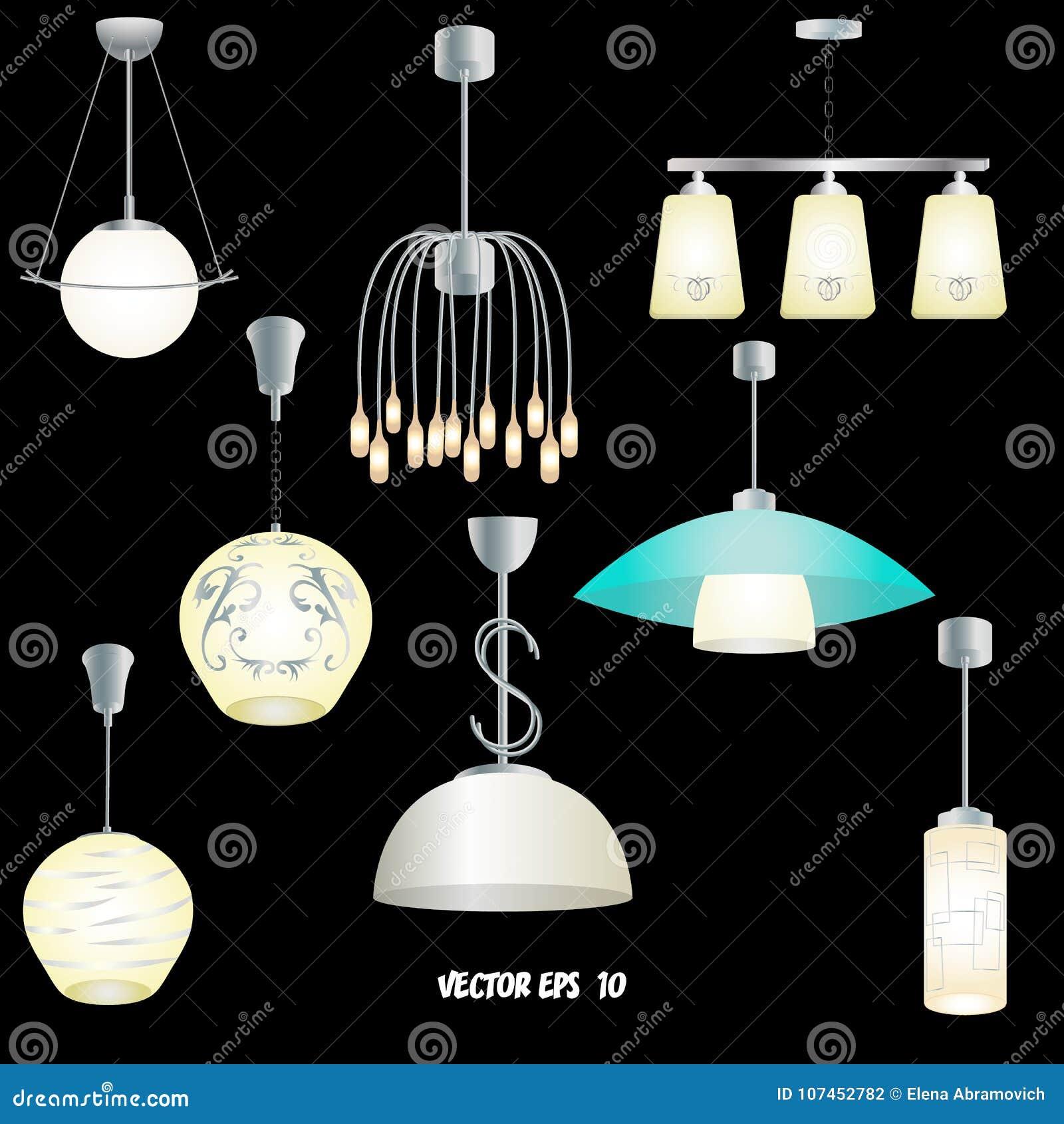 Insieme Delle Luci Moderne Differenti Per La Cucina, Salone ...