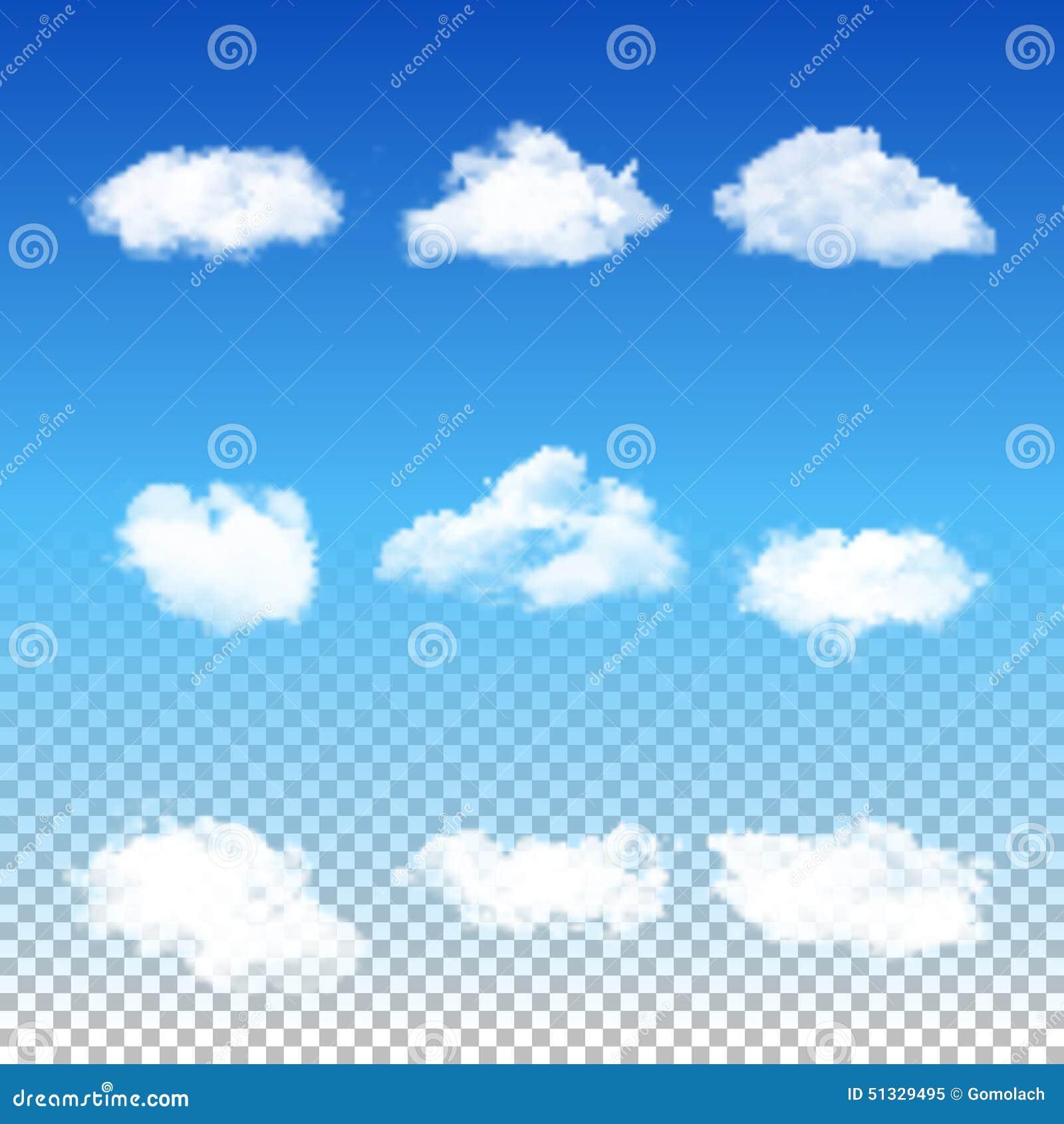 Insieme delle nuvole differenti trasparenti