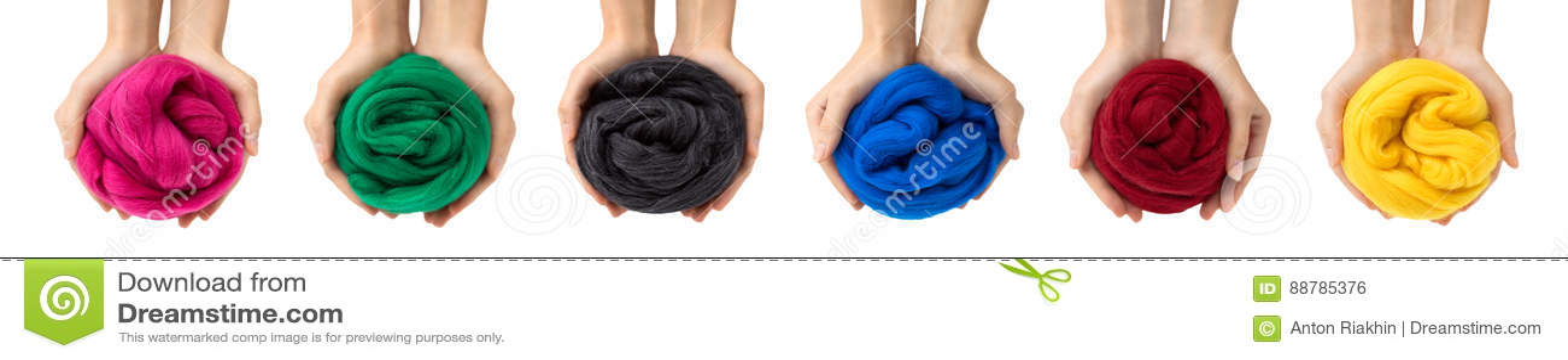 Insieme delle palle variopinte della lana merino in mani, collage