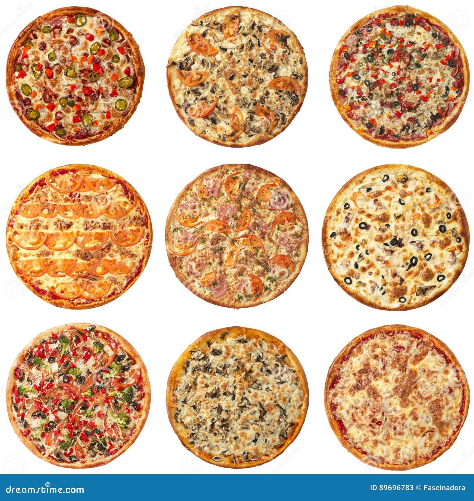 Insieme delle pizze differenti isolate su bianco