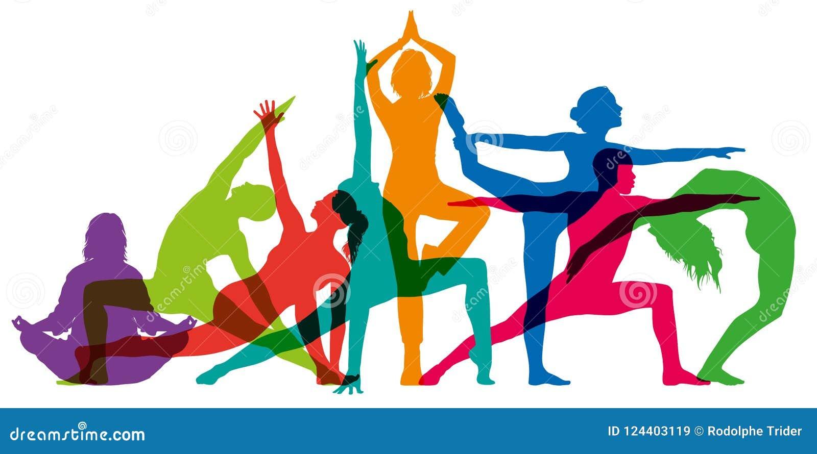 Insieme delle siluette femminili variopinte che illustrano le posizioni di yoga