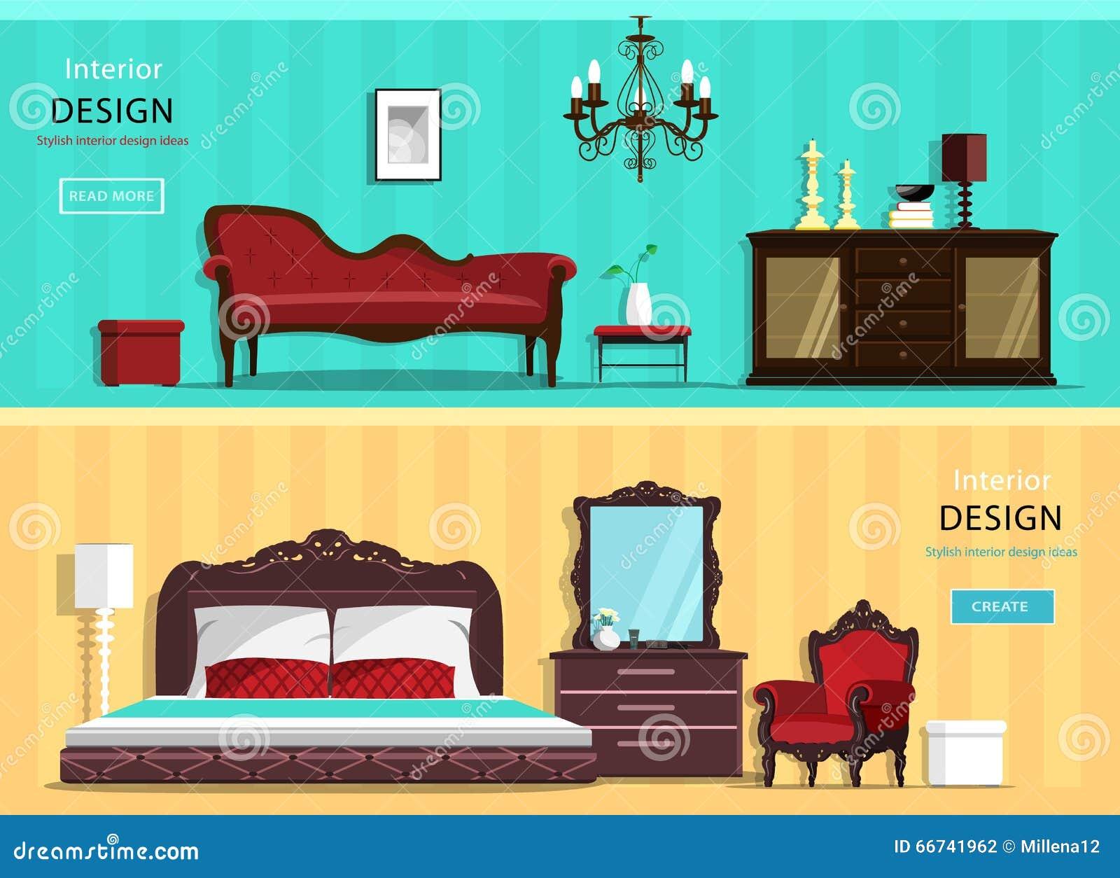 Insieme delle stanze d 39 annata della casa di interior for Design della casa libera