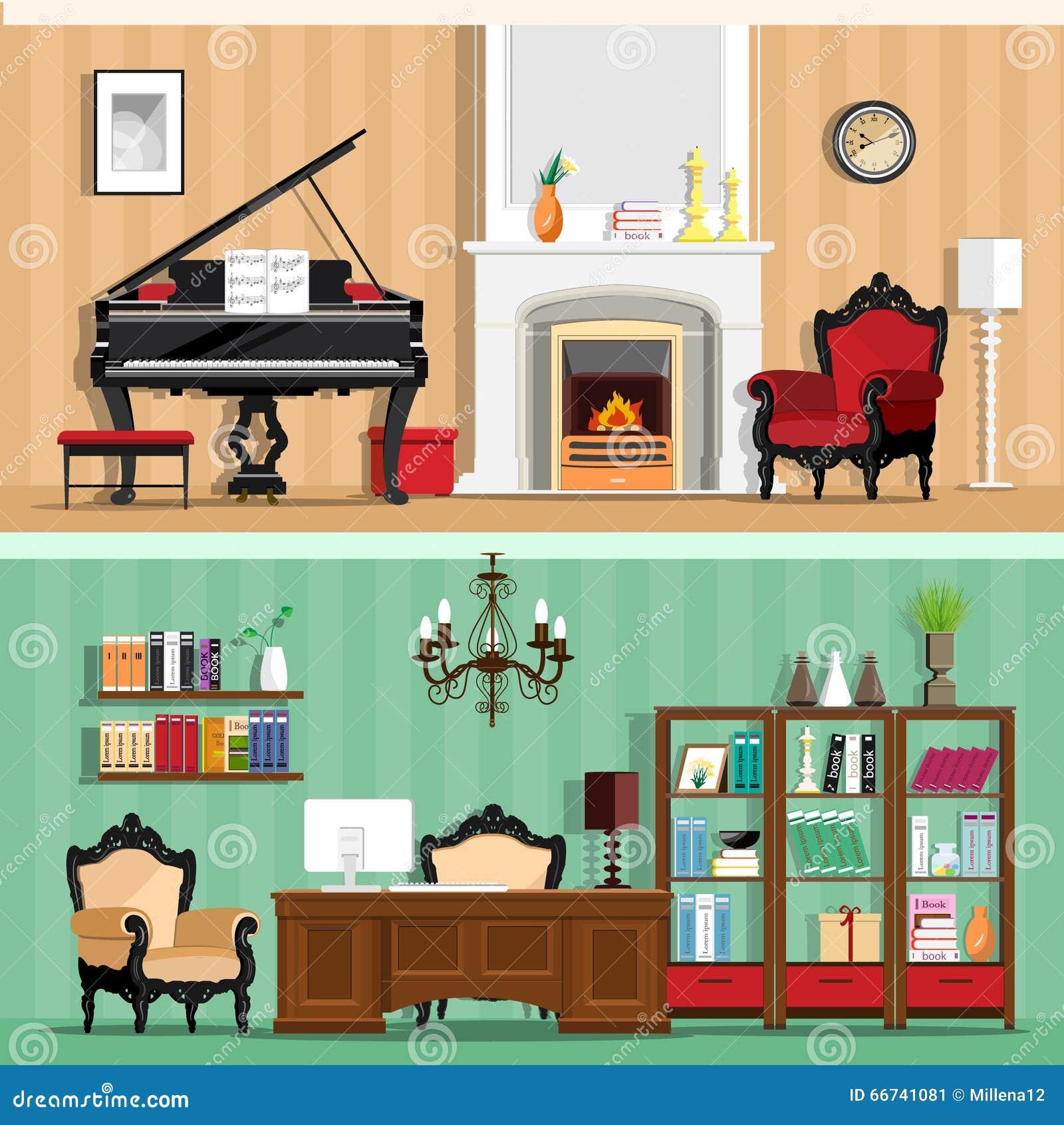 Insieme delle stanze variopinte della casa di interior for Disegno della casa