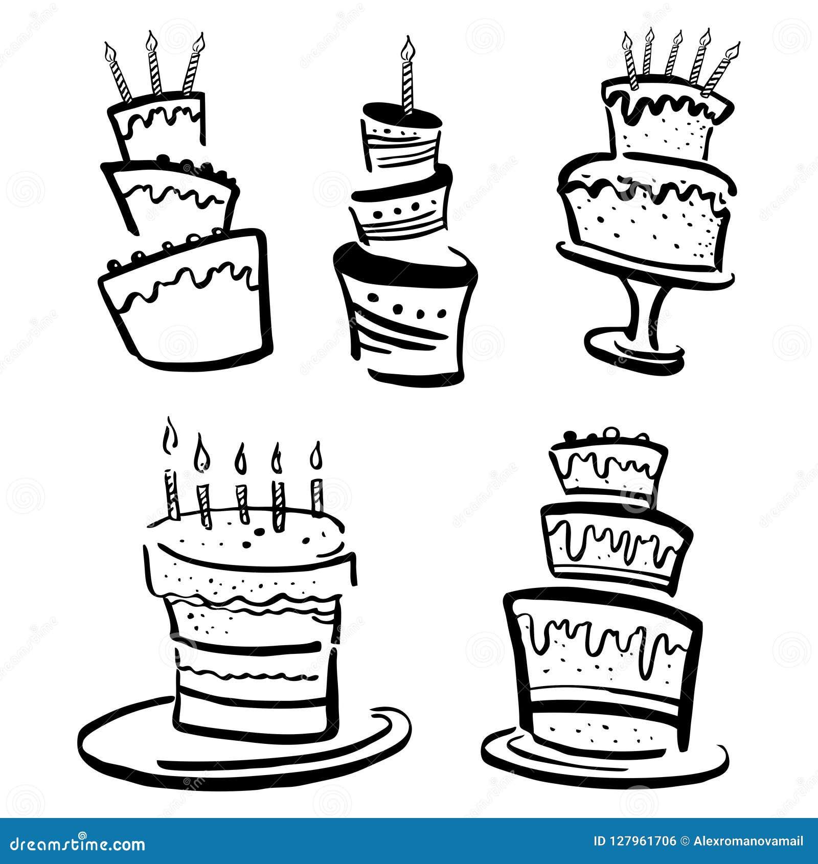 Torta Compleanno Stilizzata.Insieme Delle Torte Di Compleanno Stilizzate Illustrazione In Bianco E Nero Di Schizzo Di Vettore Disegnato A Mano Del Fumetto Illustrazione Vettoriale Illustrazione Di Cuocia Squisito 127961706