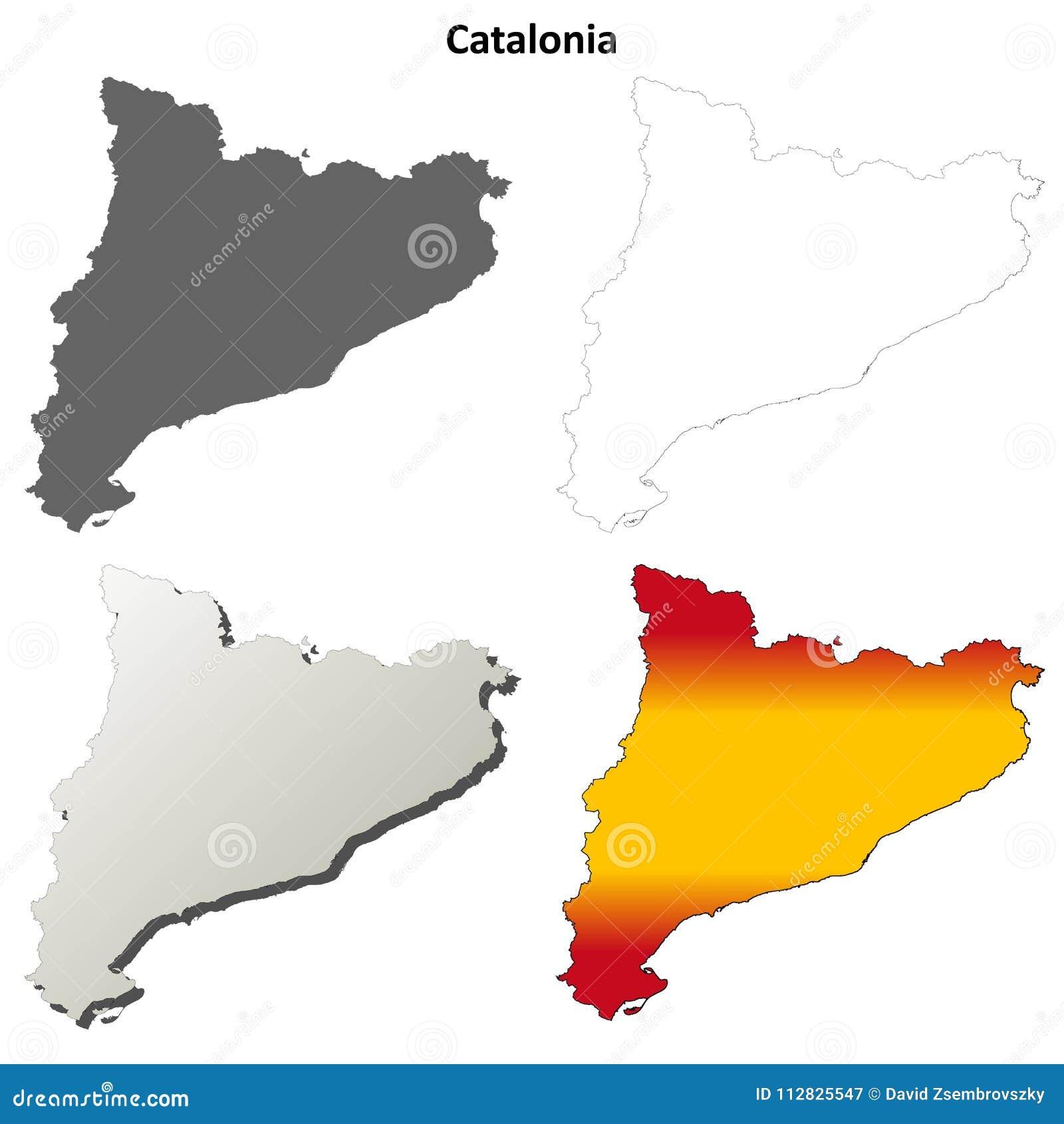 Cartina Catalogna.Insieme Dettagliato In Bianco Della Mappa Del Profilo Della Catalogna Illustrazione Vettoriale Illustrazione Di Blank Puntello 112825547