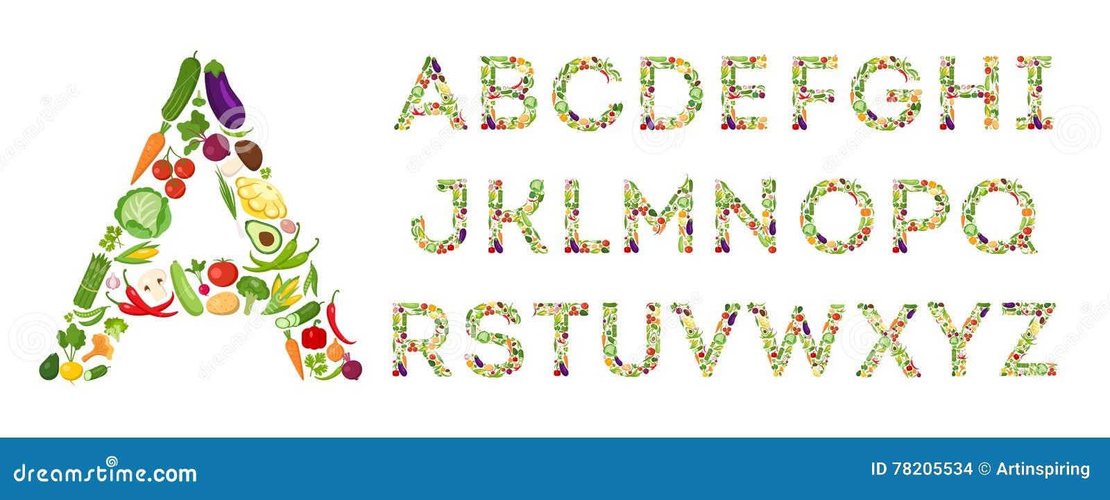 Insieme di alfabeto delle verdure