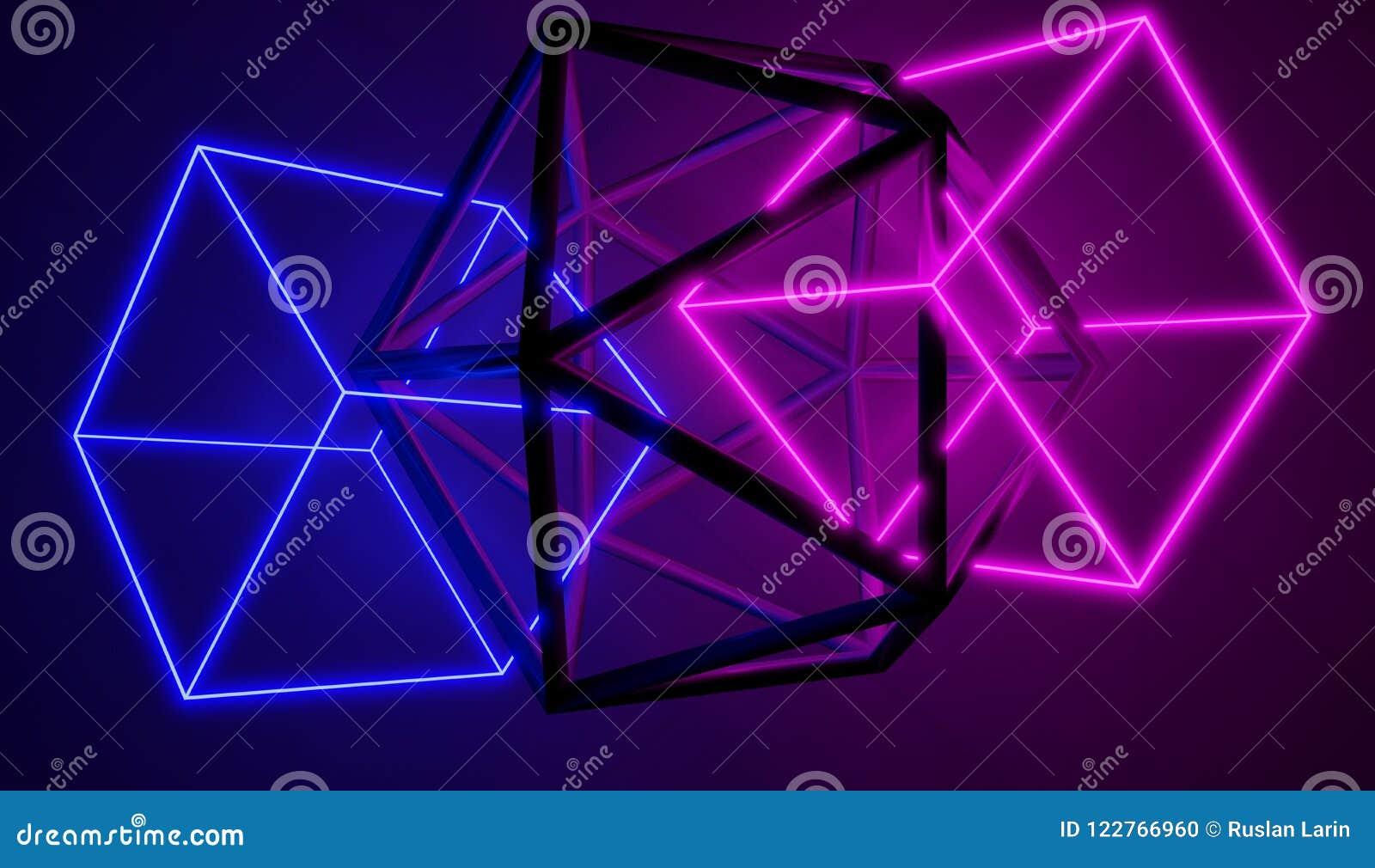 Insieme di ardore del neon e di forme metalliche, collegato insieme
