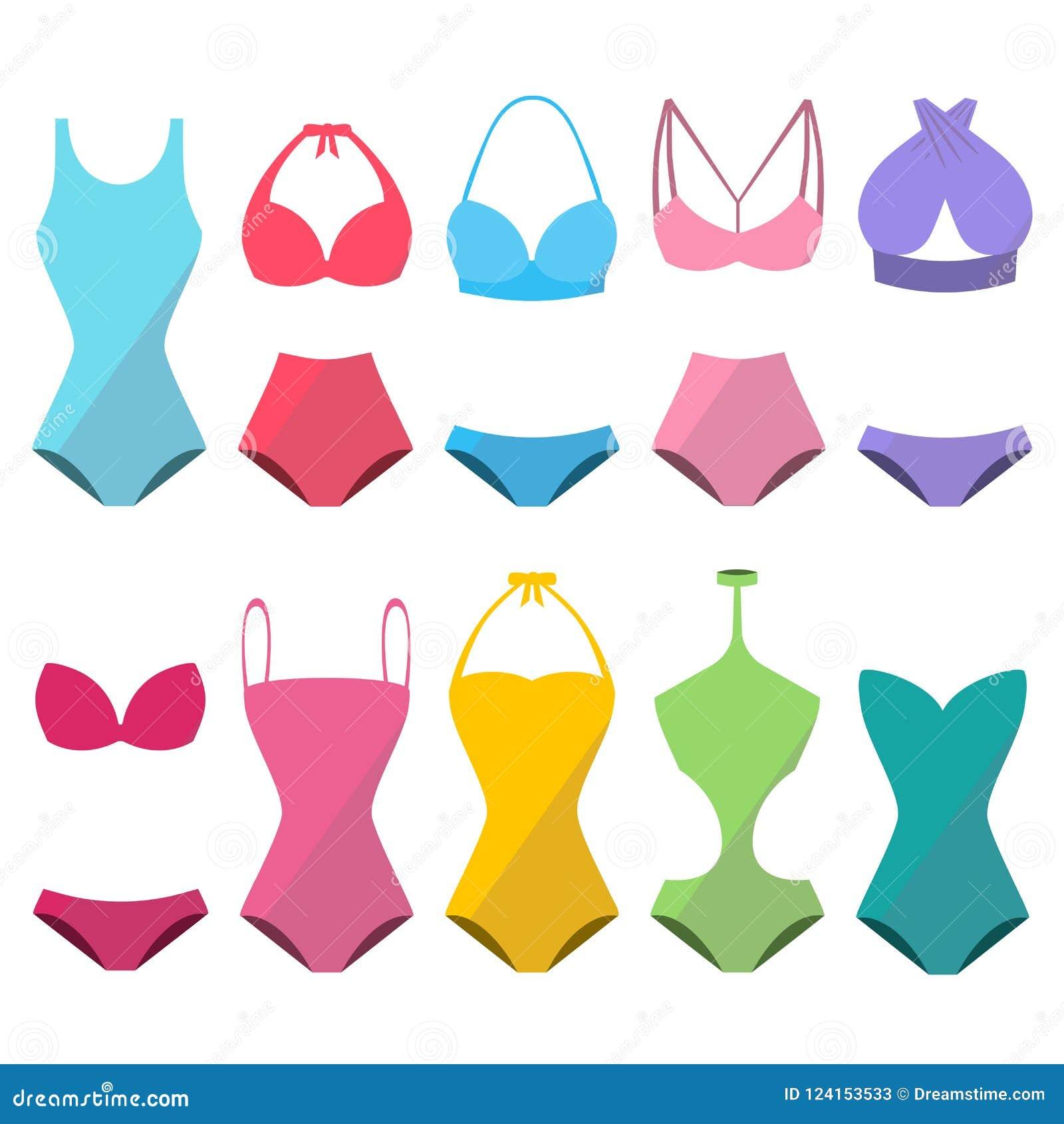 Insieme di bello swimwear alla moda variopinto per estate