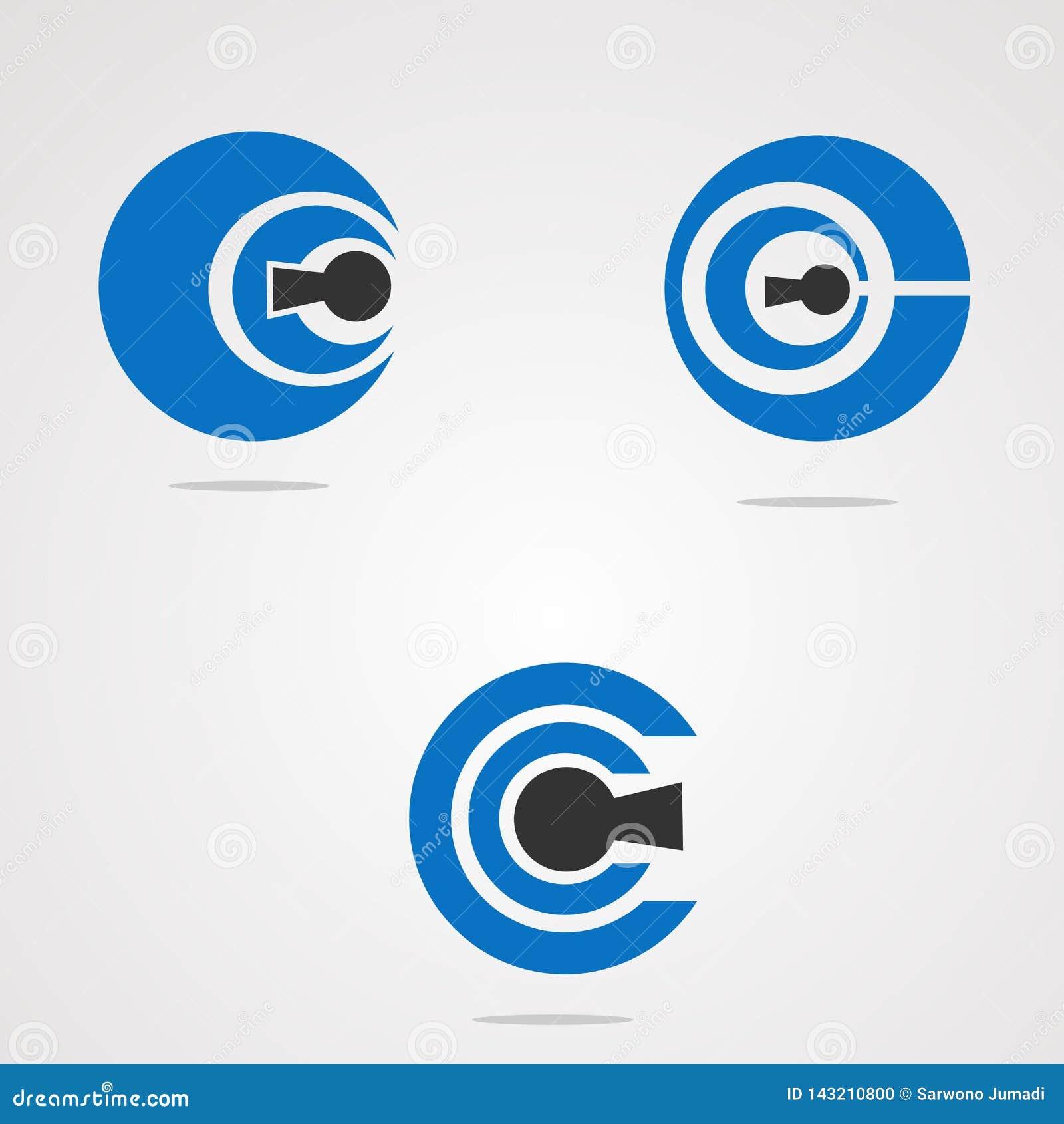 Insieme di chiave del cerchio con il concetto, l elemento, l icona ed il modello sicuri di vettore di logo di concetto per la soc