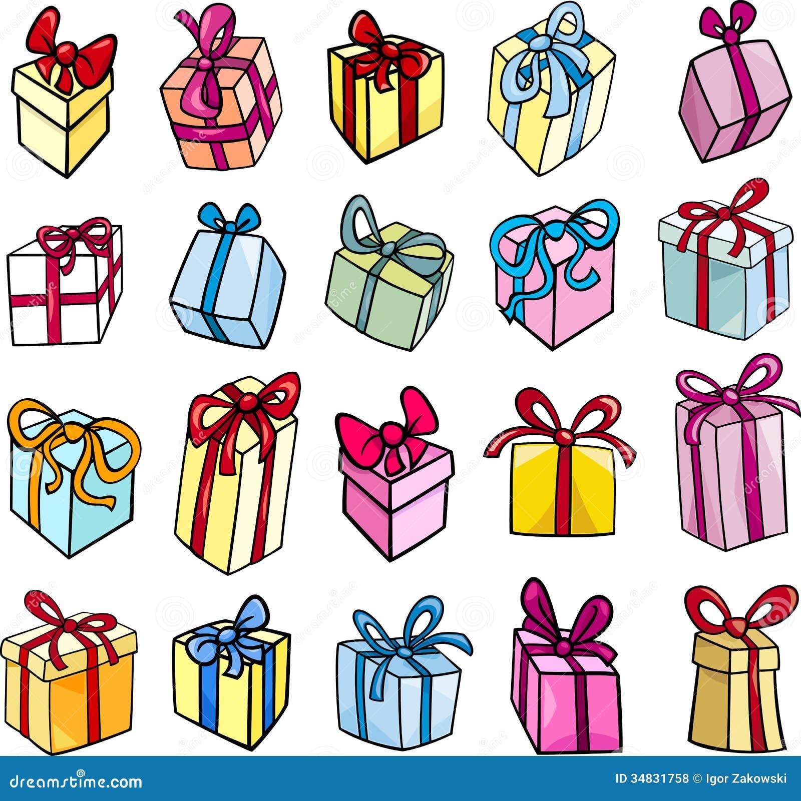 Insieme di clipart del regalo di compleanno o di natale - Immagine di regali di natale ...