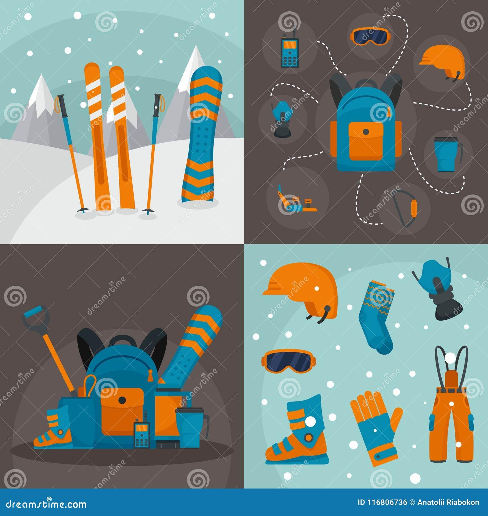Insieme di concetto dell insegna del corredo di snowboard, stile piano