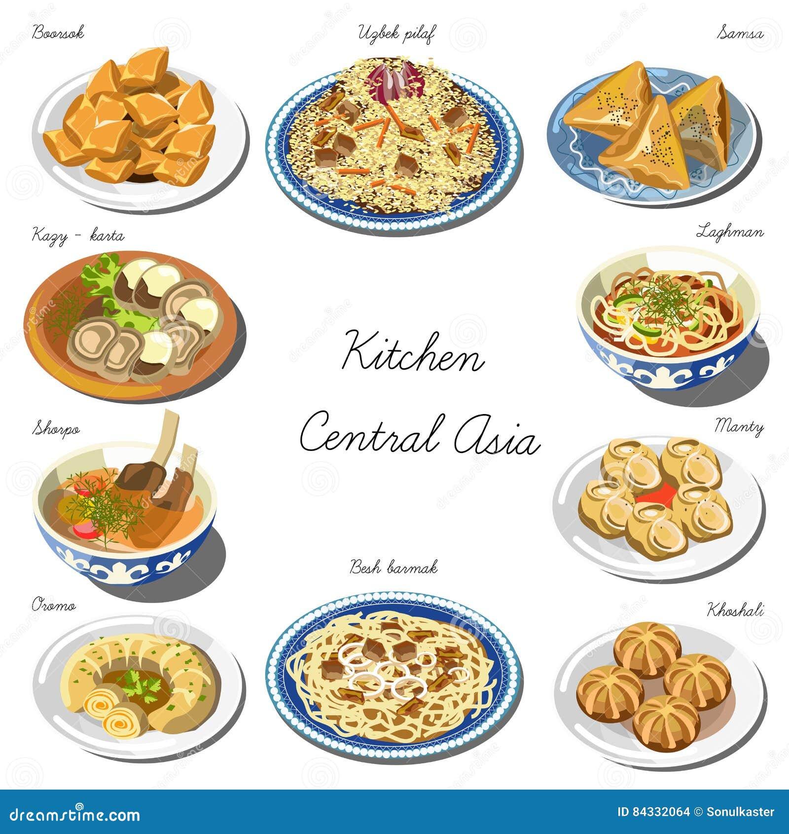 Insieme Di Cucina Di Asia Centrale Raccolta Dei Piatti Dell\'alimento ...