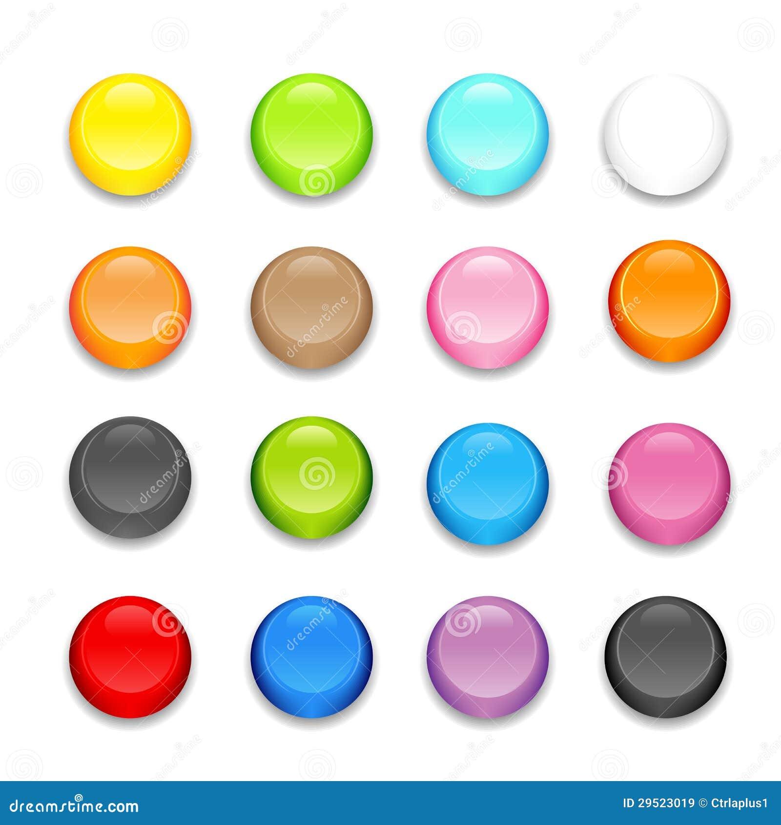 Insieme di disegno dei bottoni di colore pieno.