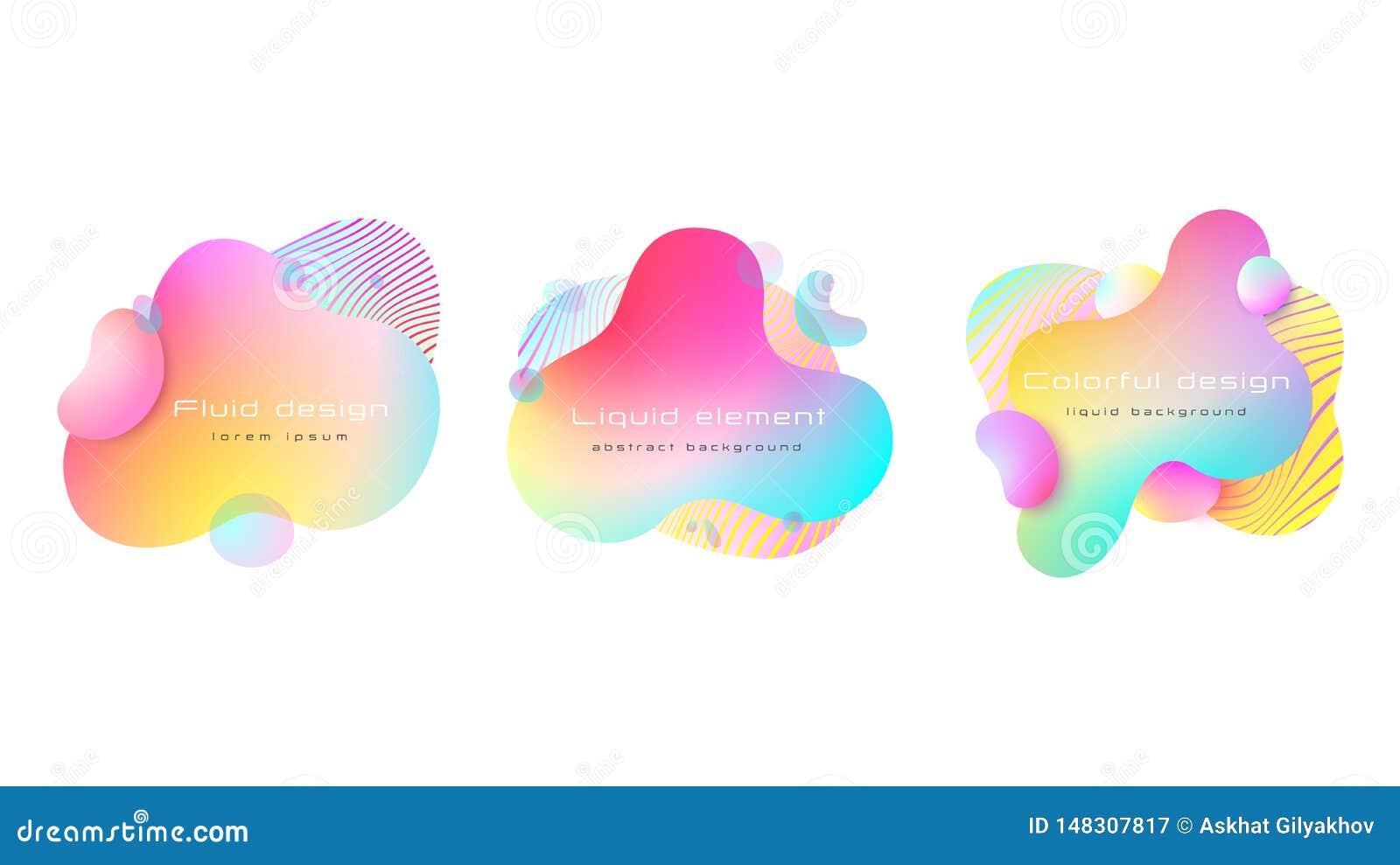 Insieme di elementi liquido astratto variopinto futuristico Forme e linea colorate dinamiche sottragga la priorit? bassa Vettore,