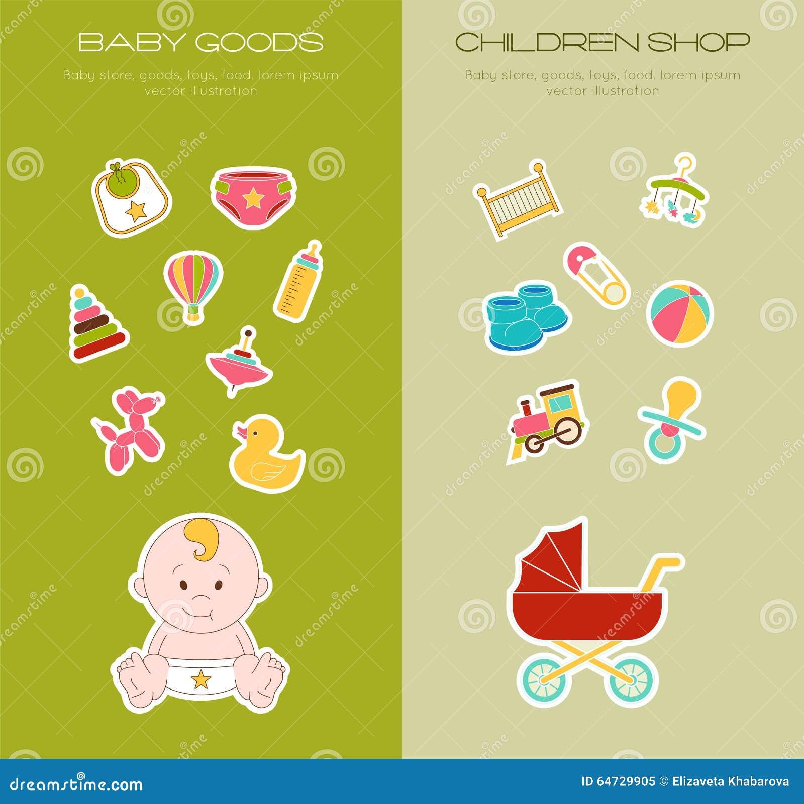 Insieme di elementi neonato di scarabocchio Illustrazione sorrisa di vettore del bambino Ha