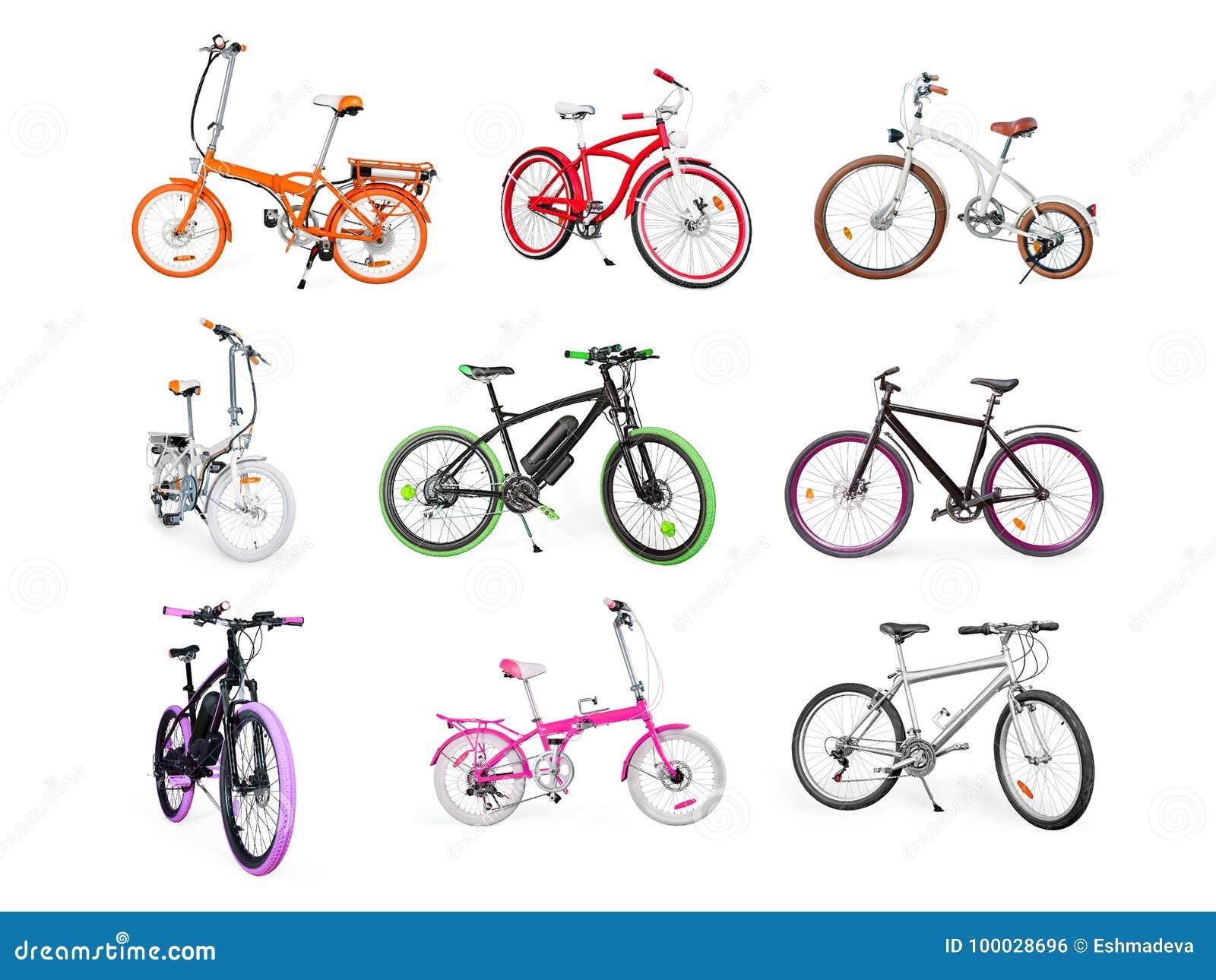 Insieme di elettrico, di urbano, l incrociatore, MTB e le bici pieganti isolati