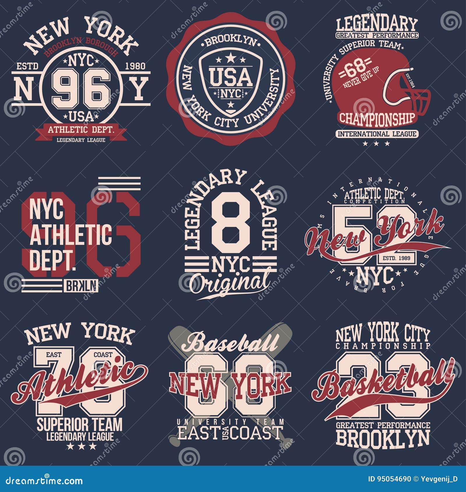 Insieme di etichette d annata, tipografia di sport atletico per la stampa della maglietta Stile della squadra di college Grafico