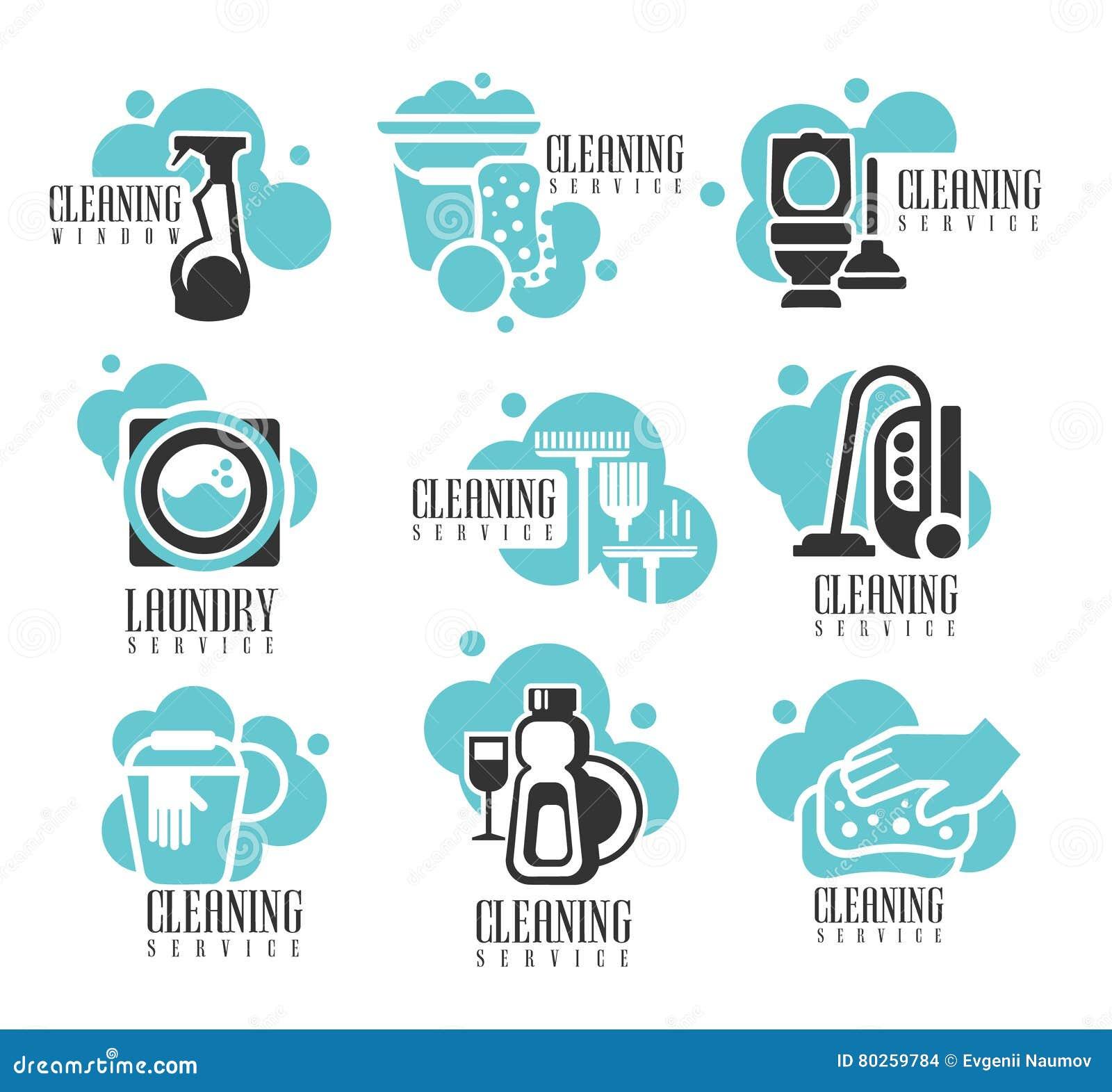 Insieme di etichette di noleggio di servizio di pulizia for Ufficio di presidenza camera