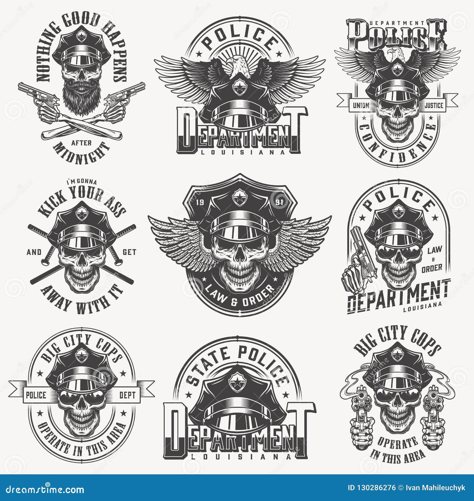 Insieme di etichette monocromatico d annata della polizia