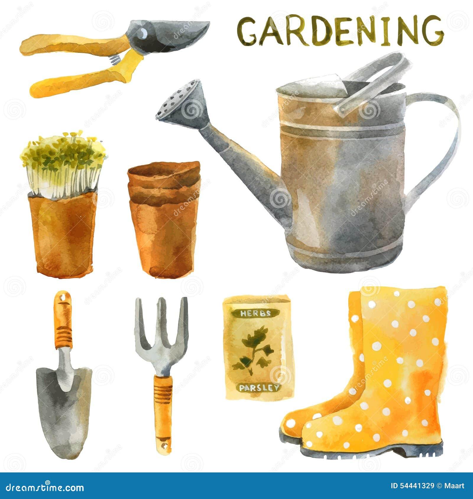 Insieme di giardinaggio dell acquerello