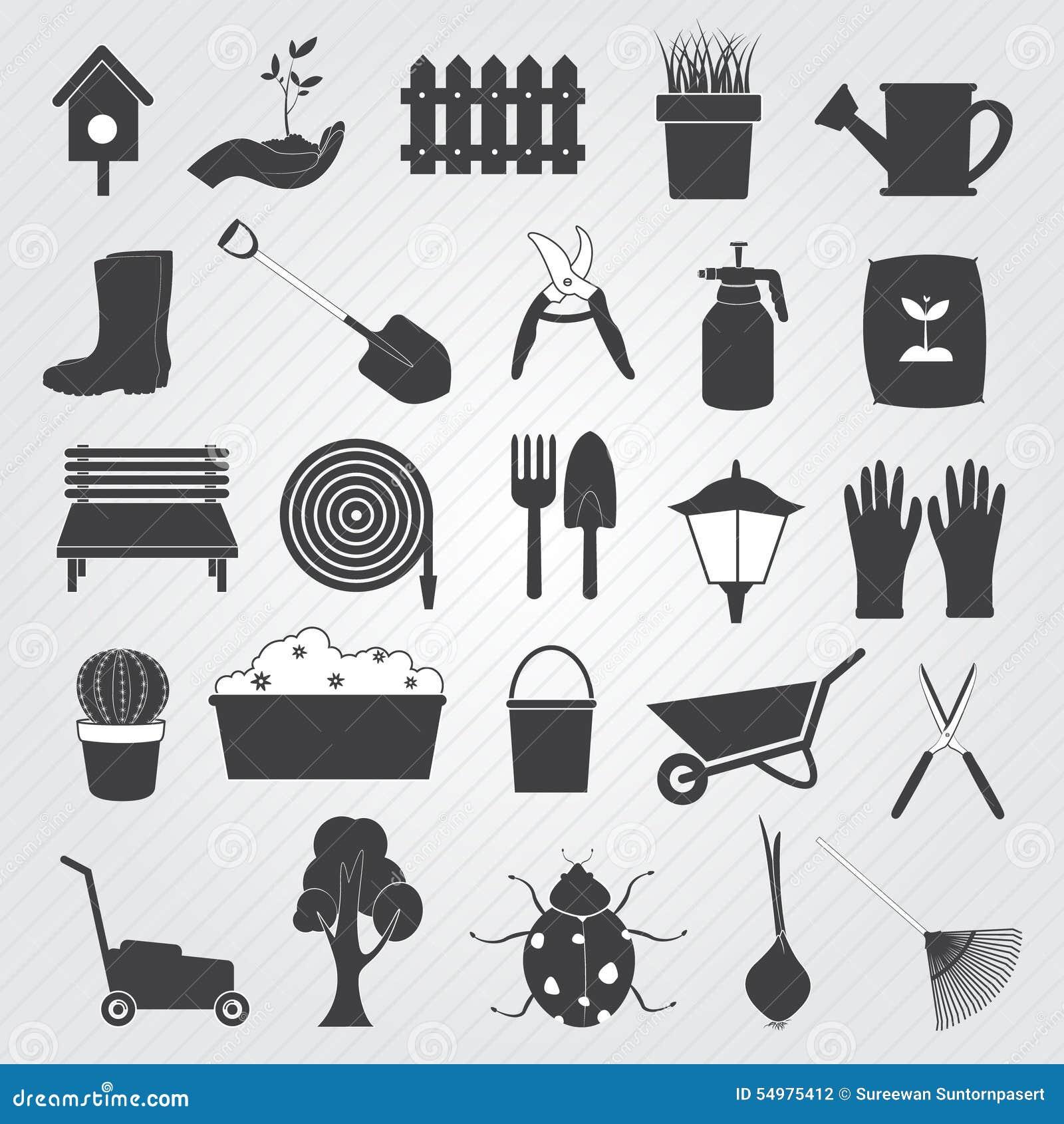 Insieme di giardinaggio di vettore delle icone