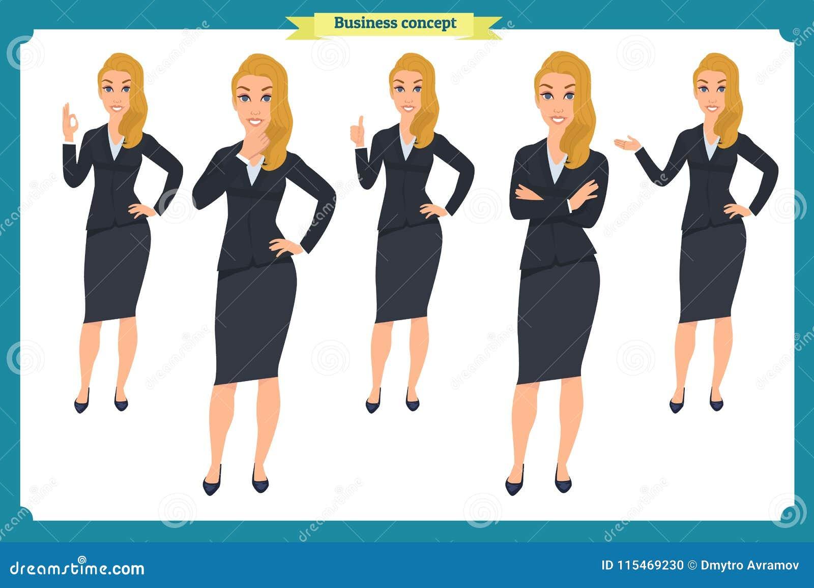Insieme di giovane donna di affari che presenta nelle pose differenti Carattere della gente standing Isolato su bianco Stile pian