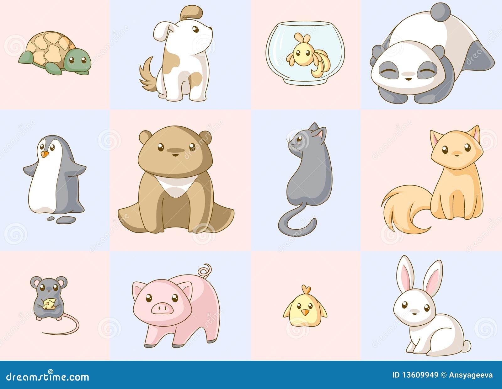 Insieme di kawaii degli animali immagini stock libere da for Immagini disegni kawaii