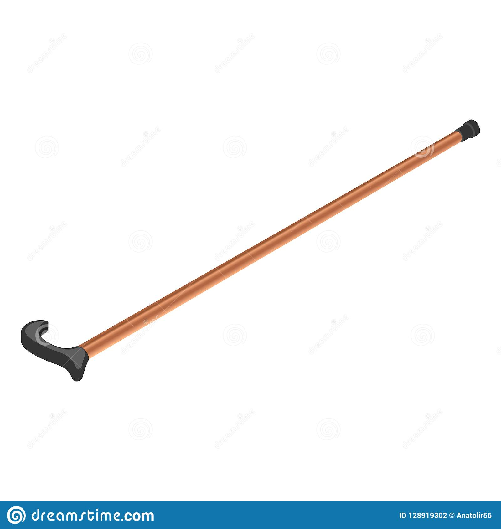 Insieme di legno dell icona del bastone della passeggiata, stile isometrico