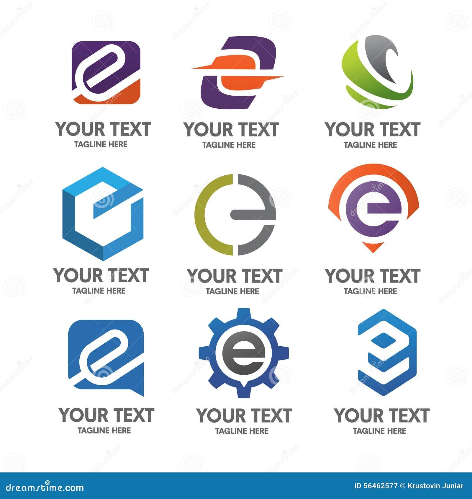 Insieme di logo della lettera E