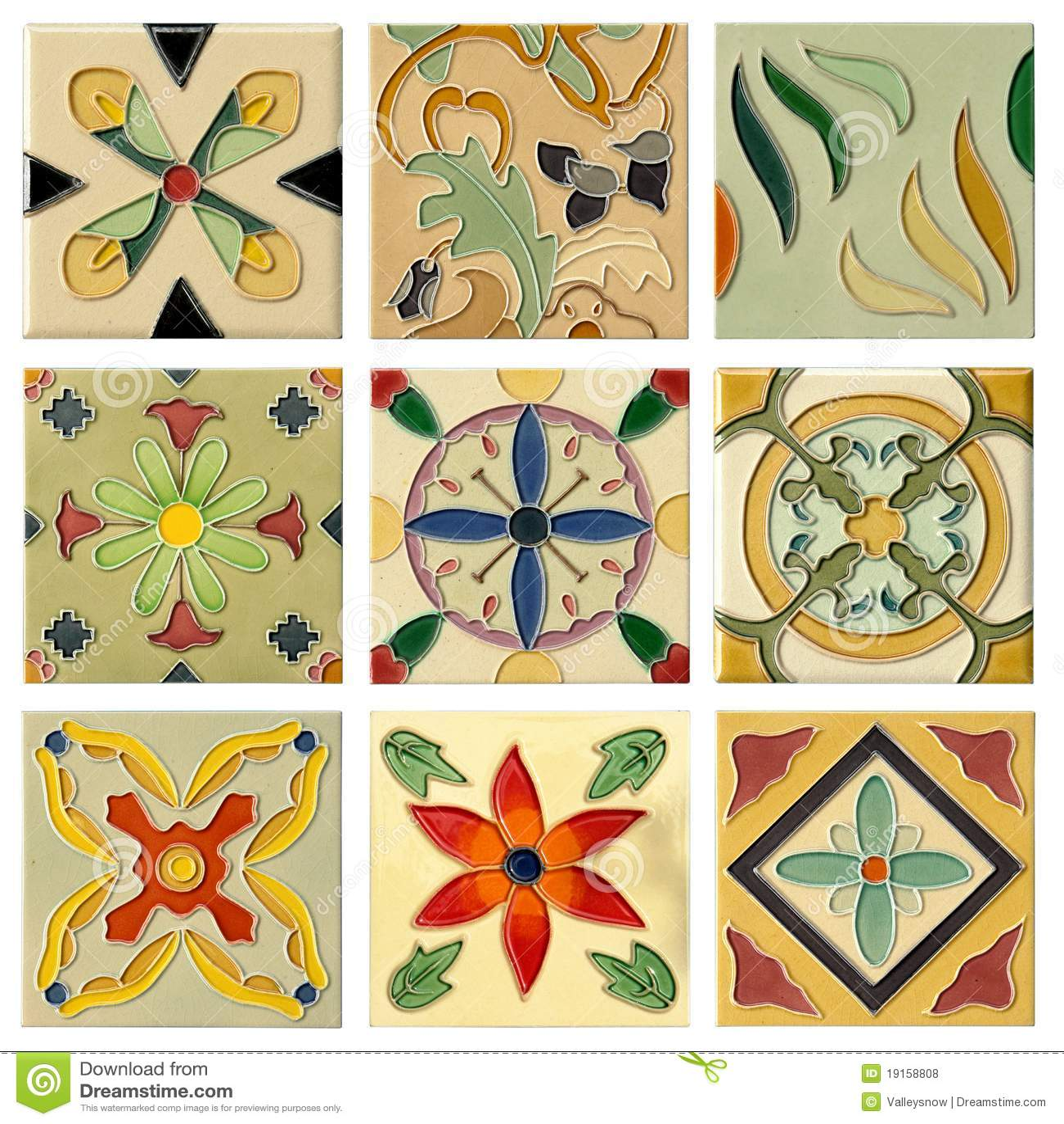 Insieme di mattonelle di ceramica della flora antica nove for Decorazione ceramica