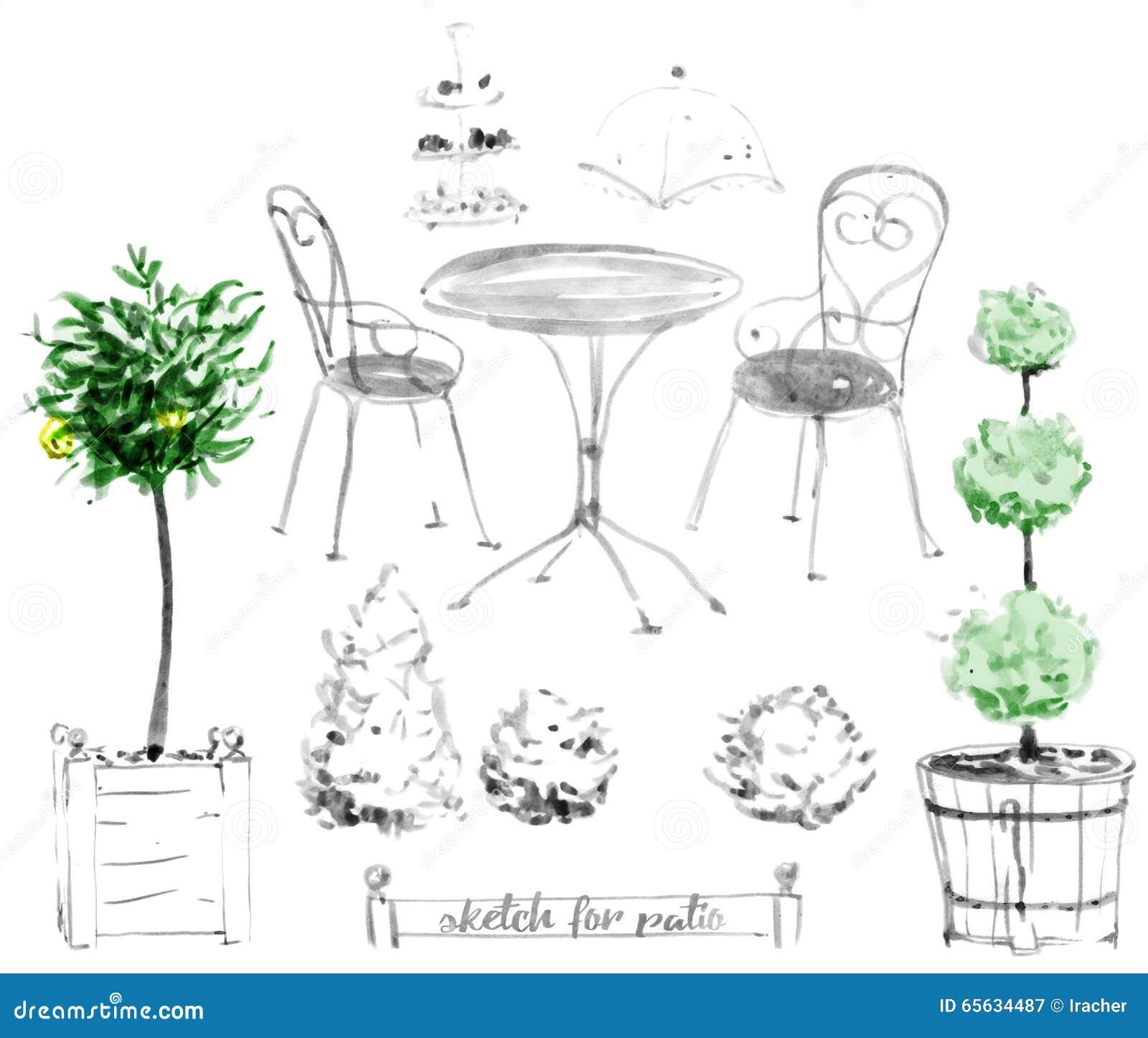 Insieme di mobili da giardino per il patio illustrazione for Mobili per giardino