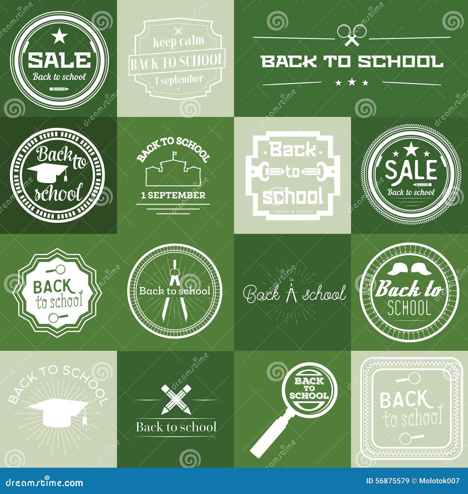 Insieme di nuovo all etichetta della scuola su fondo verde