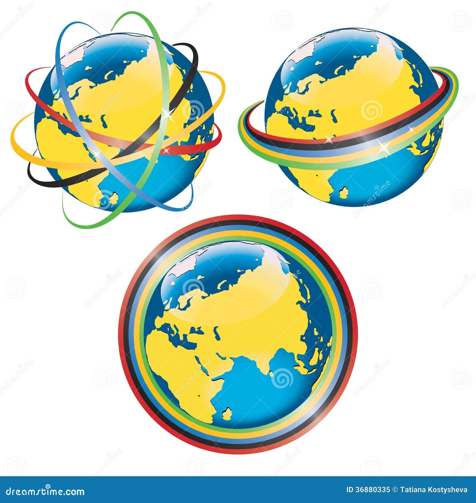 Download Insieme Di Pianeta Terra Con I Simboli Di Moveme Olimpico Illustrazione Vettoriale - Illustrazione di nero, stelle: 36880335