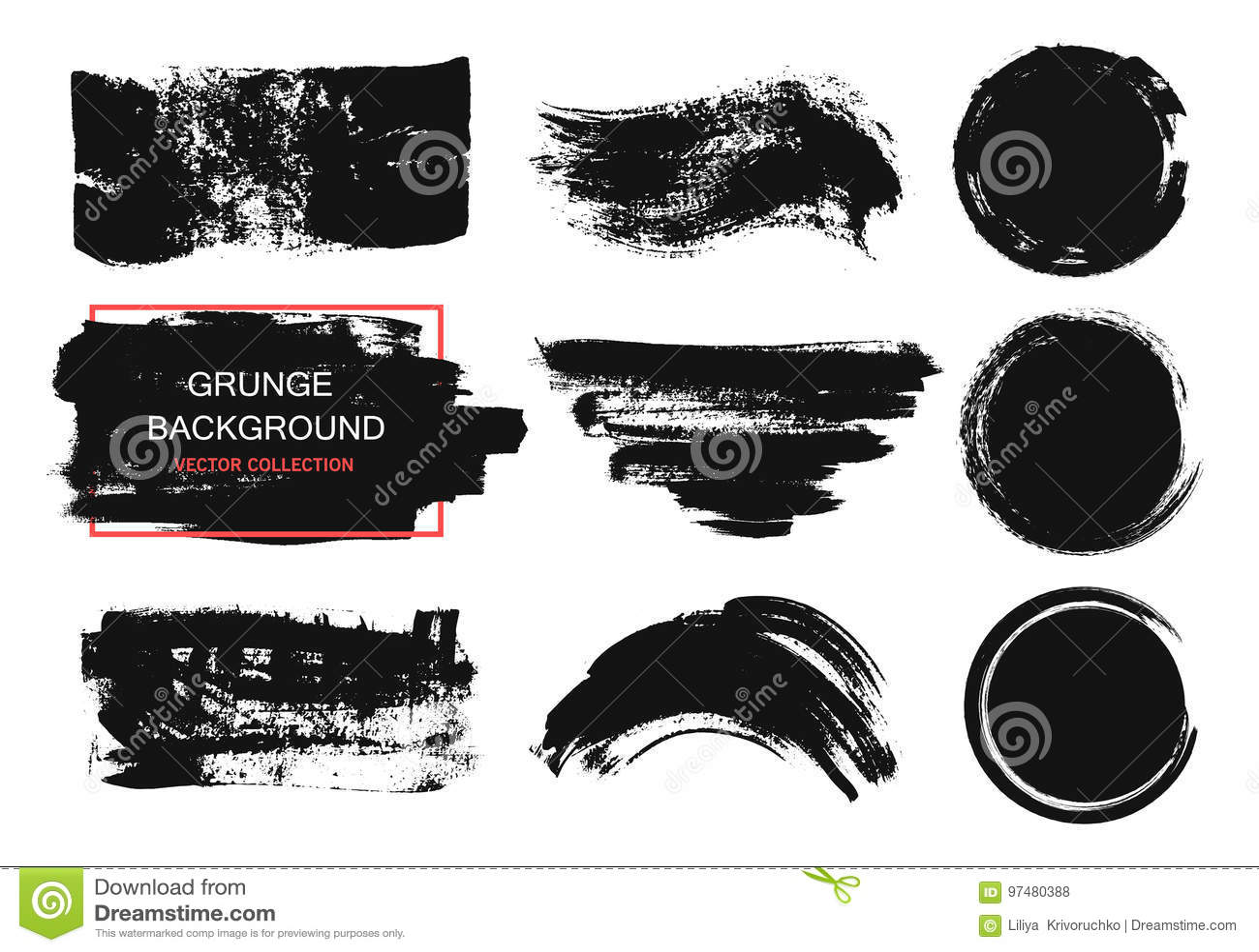 Insieme di pittura nera, colpi della spazzola dell inchiostro, spazzole, linee, cerchi Elementi artistici sporchi di progettazion