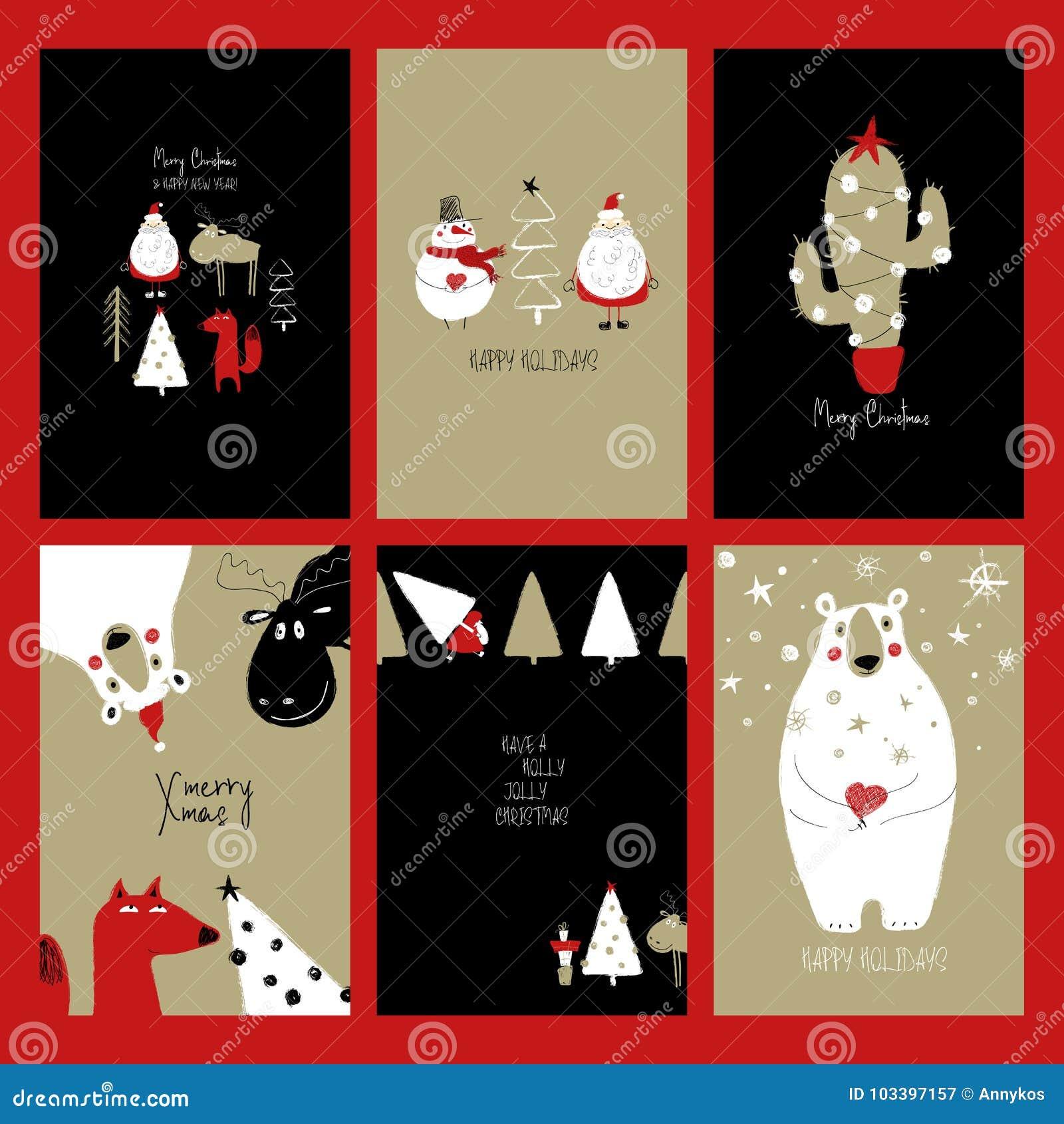 Biglietti Di Natale Divertenti.Insieme Di Retro Cartoline Di Natale Divertenti Illustrazione