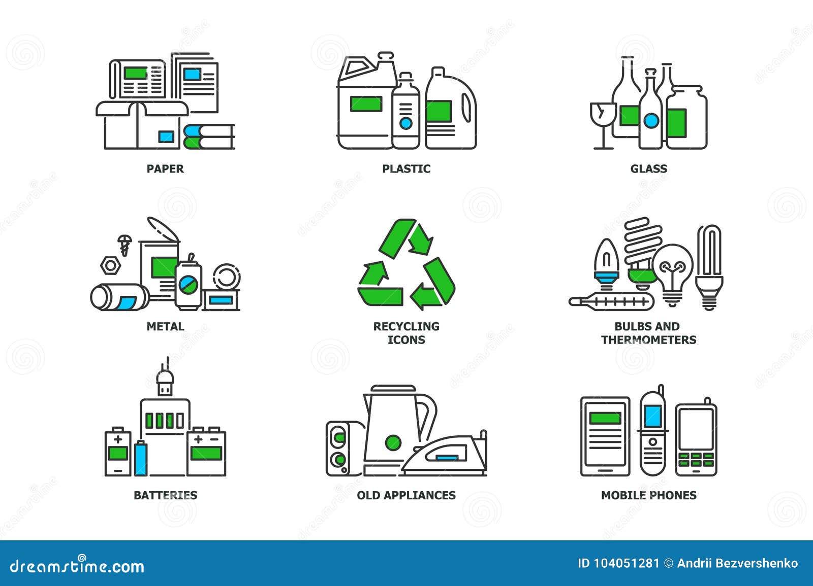Insieme di riciclaggio delle icone nella linea progettazione Ricicli le illustrazioni piane di vettore Carta straccia, metallo, p