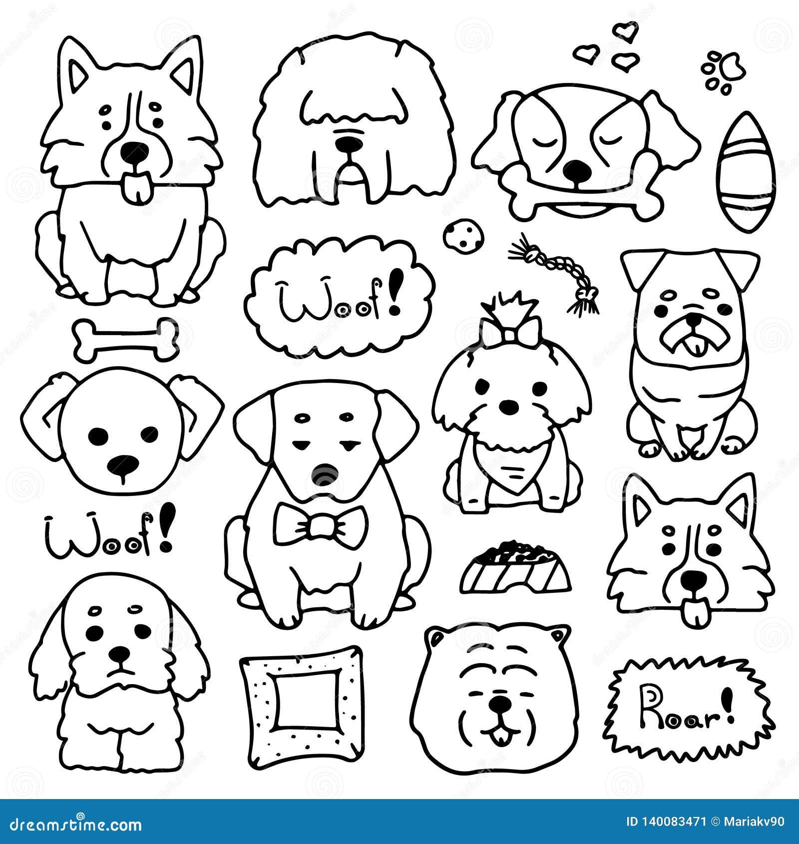 Insieme di scarabocchio delle razze differenti dei cani svegli Illustrazione a mano disegnata della raccolta canina Schizzi degli