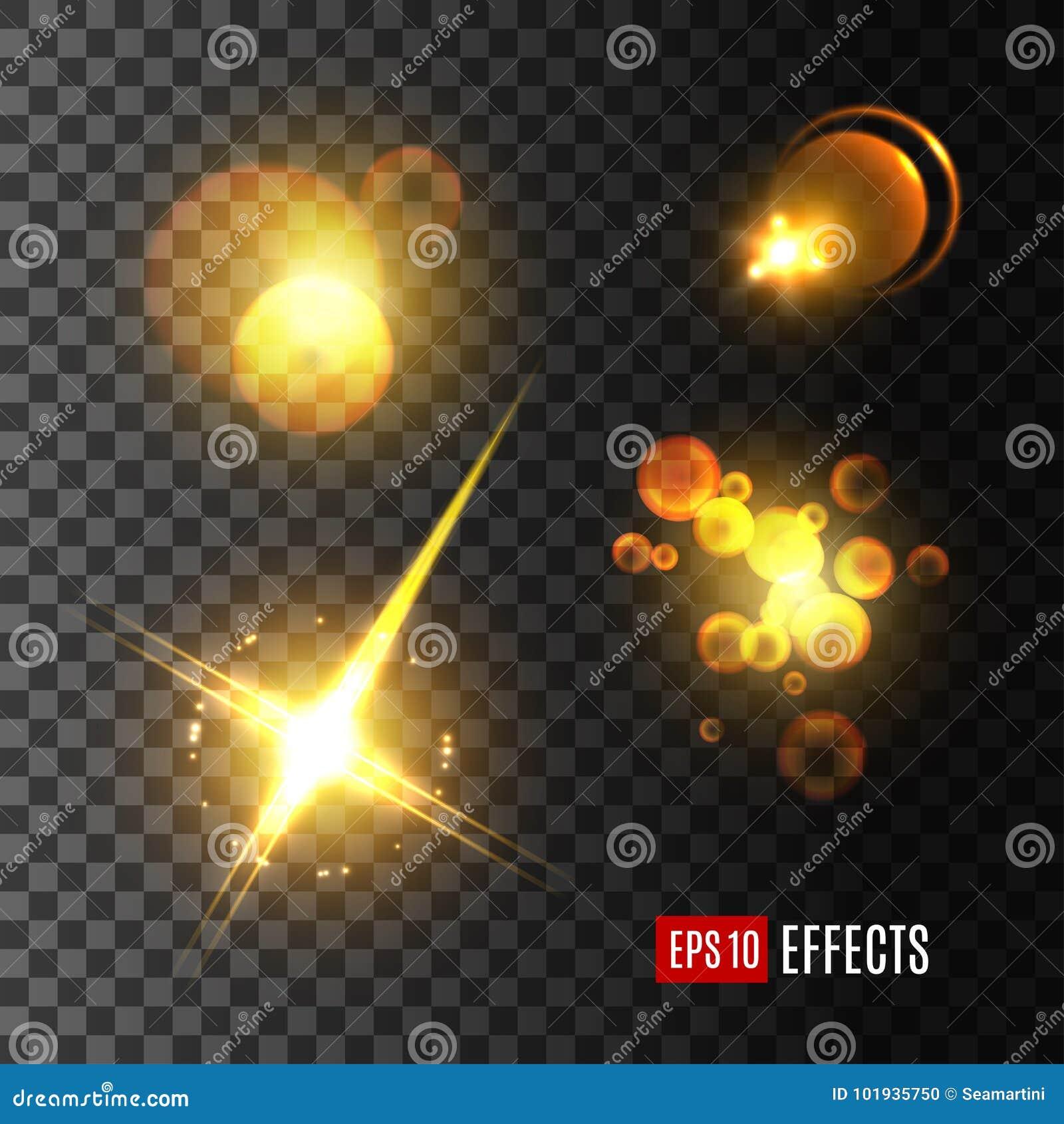Insieme di scintillio dorato, stella, fascio di effetto della luce del sole