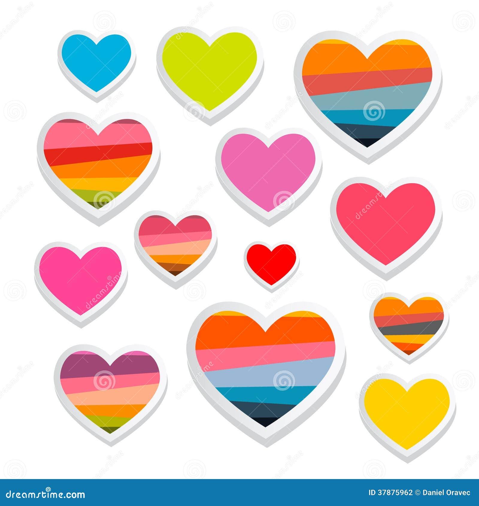 Insieme di simboli di carta del cuore di vettore