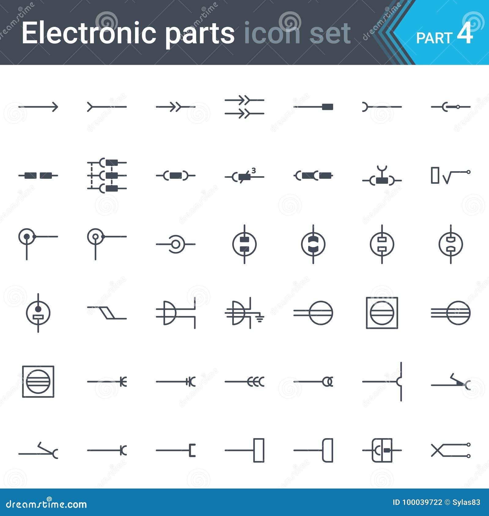 Insieme di simboli elettrico ed elettronico dello schema circuitale dei connettori elettrici, degli incavi, delle spine e della p