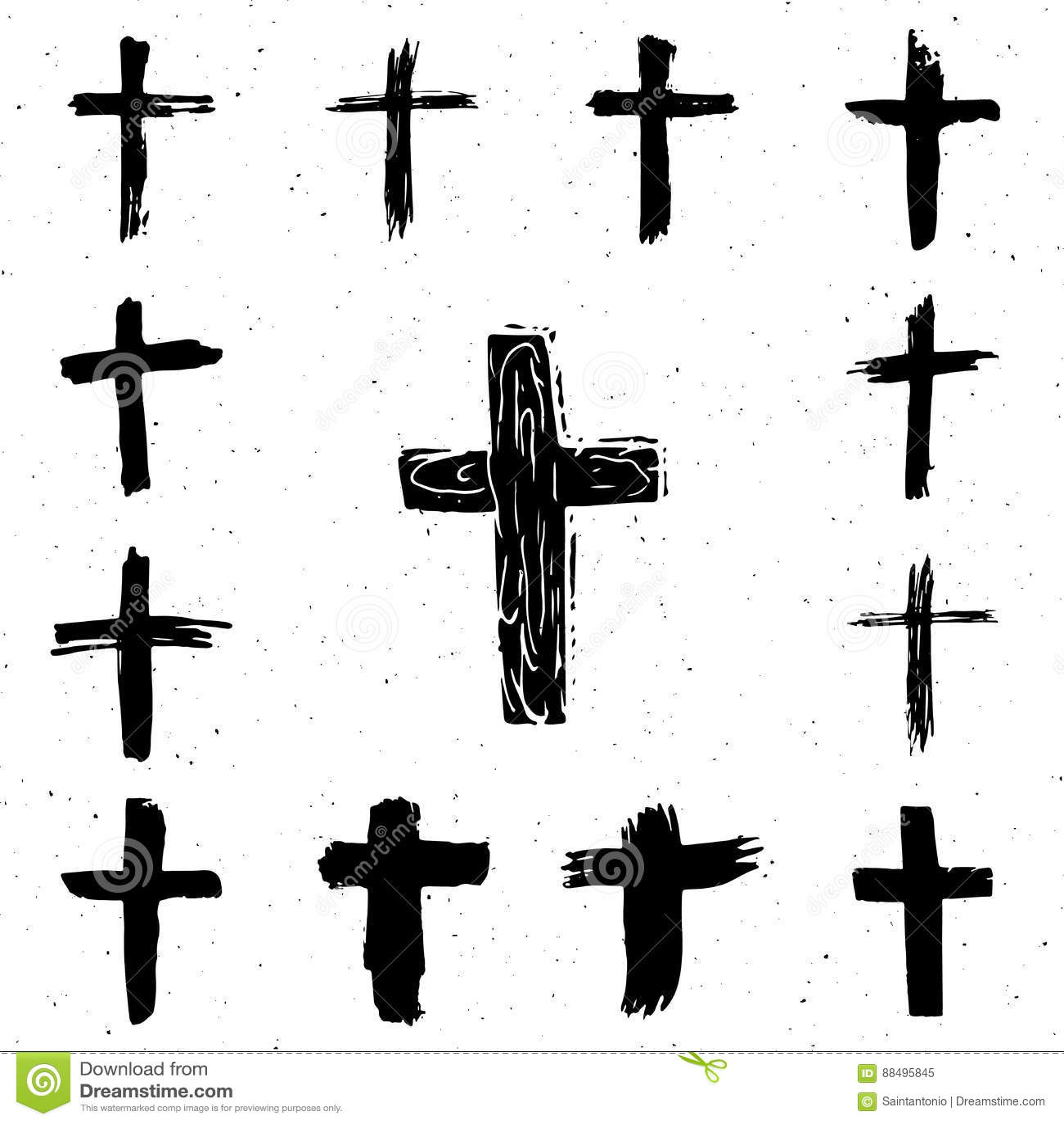 Insieme di simboli trasversale disegnato a mano di lerciume Incroci cristiani, icone religiose dei segni
