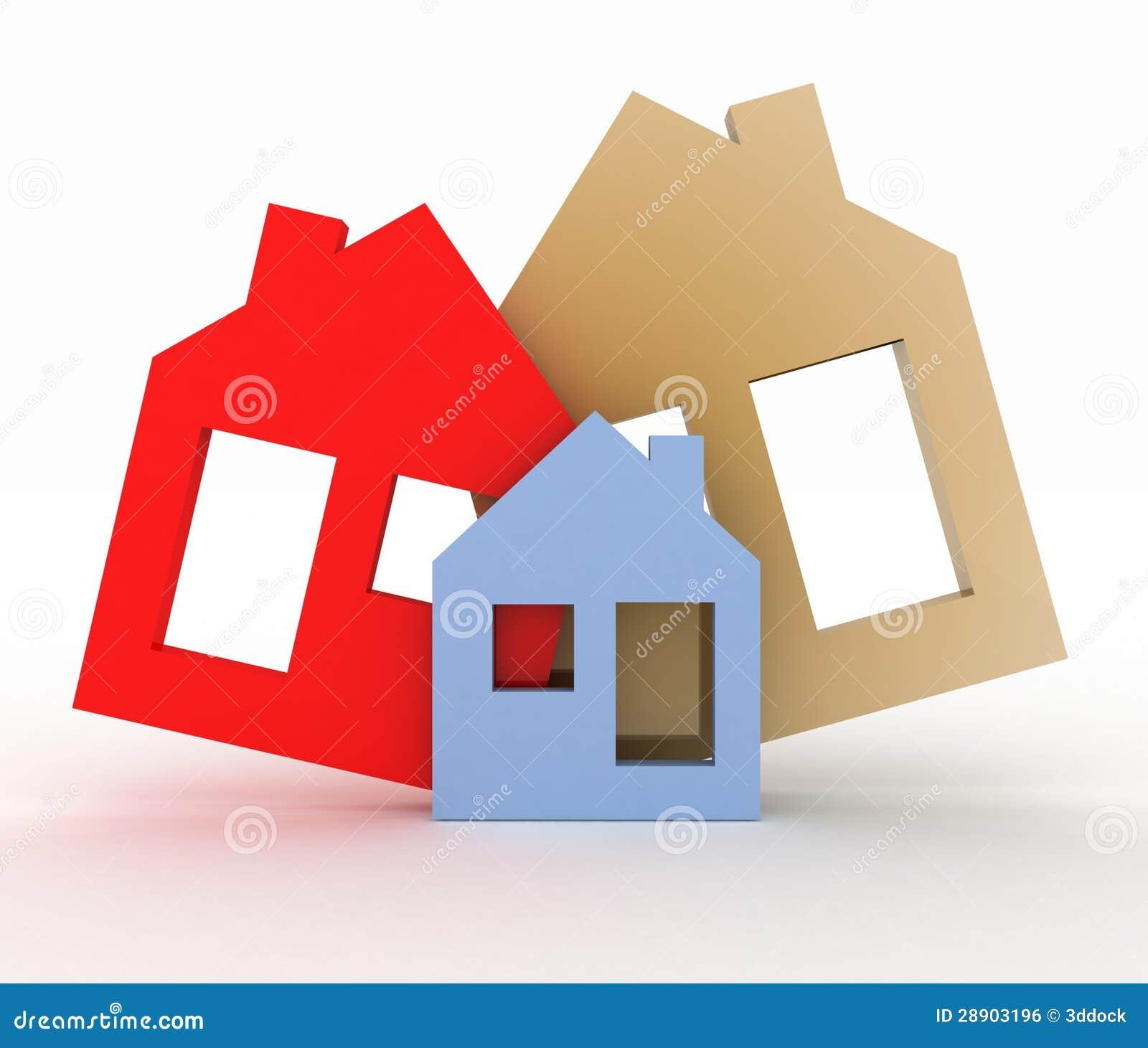 Insieme di simbolo di modello della casa illustrazione di for Design della casa libera