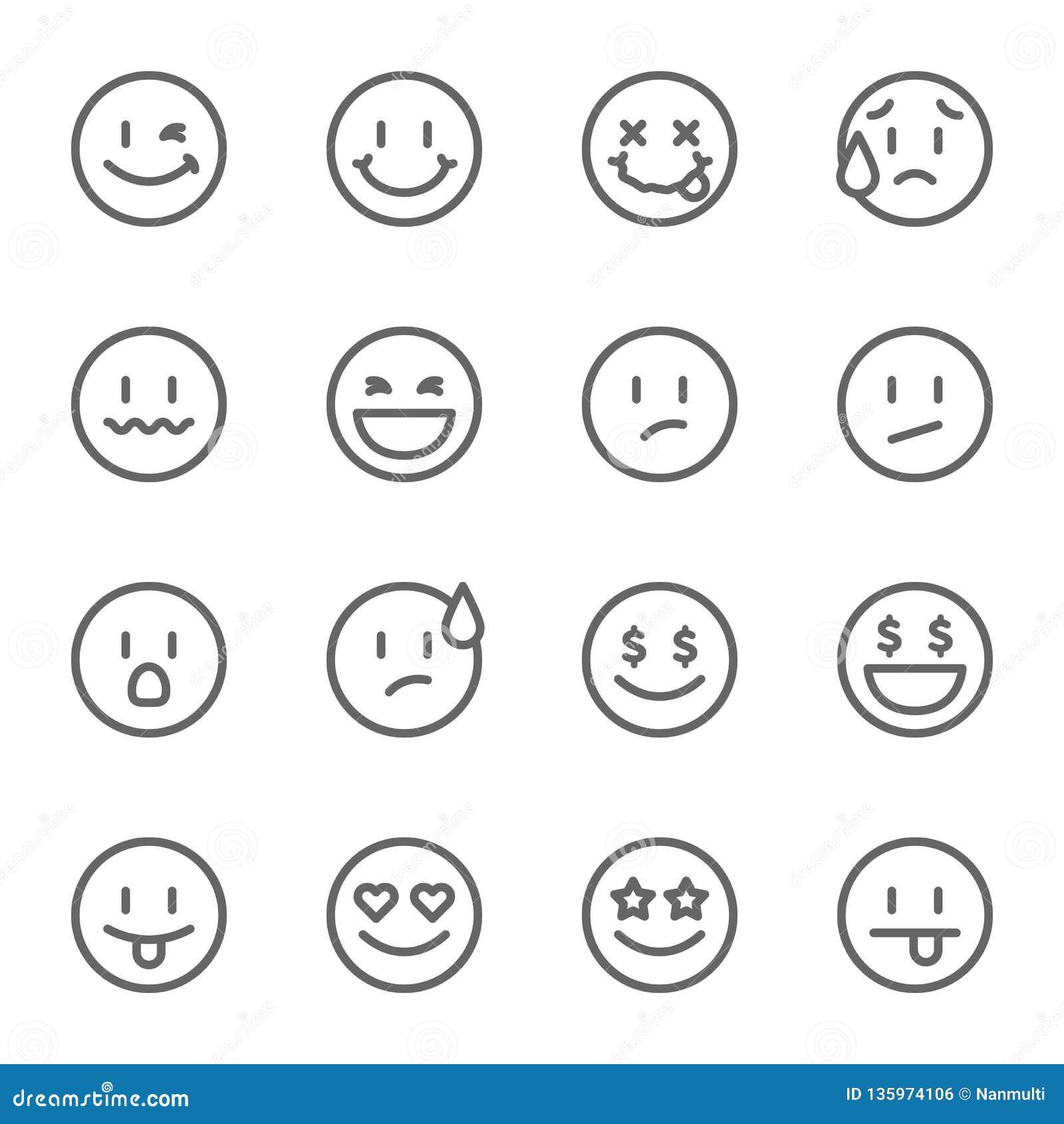 Insieme di Smiley Face Vector Line Icon Contiene tali icone come felici, insolenti, Emoji e più Colpo ampliato